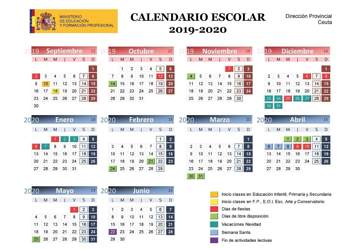 Calendario Escolar 2019 2020, Más De 100 Calendarios