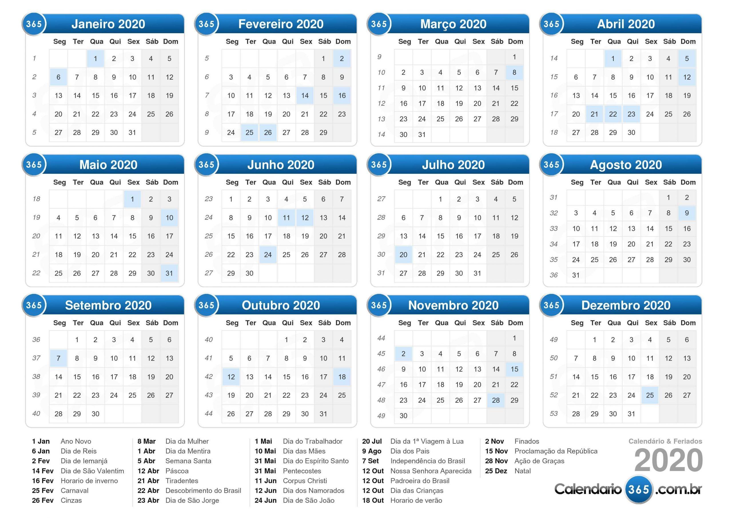 Calendario Juliano 2020 Para Imprimir | Calendario 2019