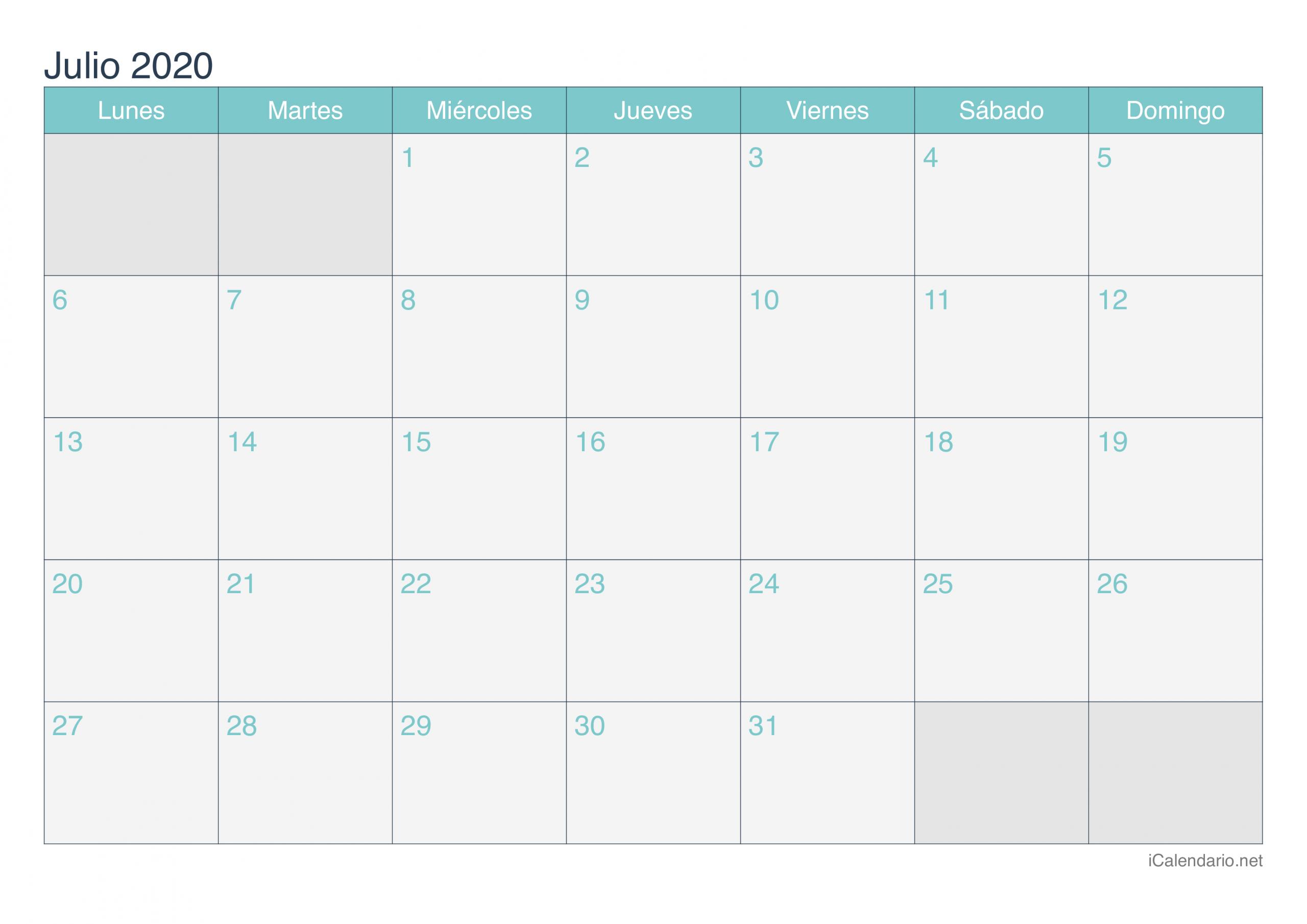 Calendario Julio 2020 Para Imprimir - Icalendario