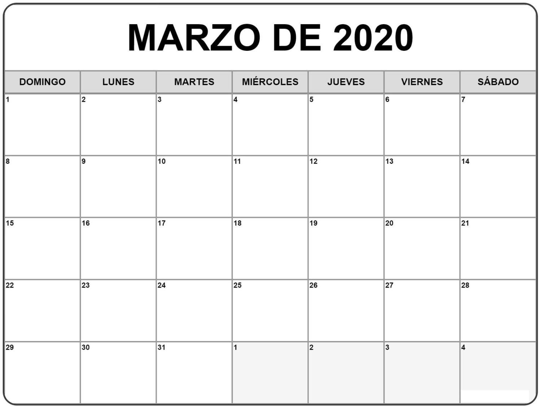 Calendario Marzo 2020 Para Imprimir Pdf Gratis | Nosovia