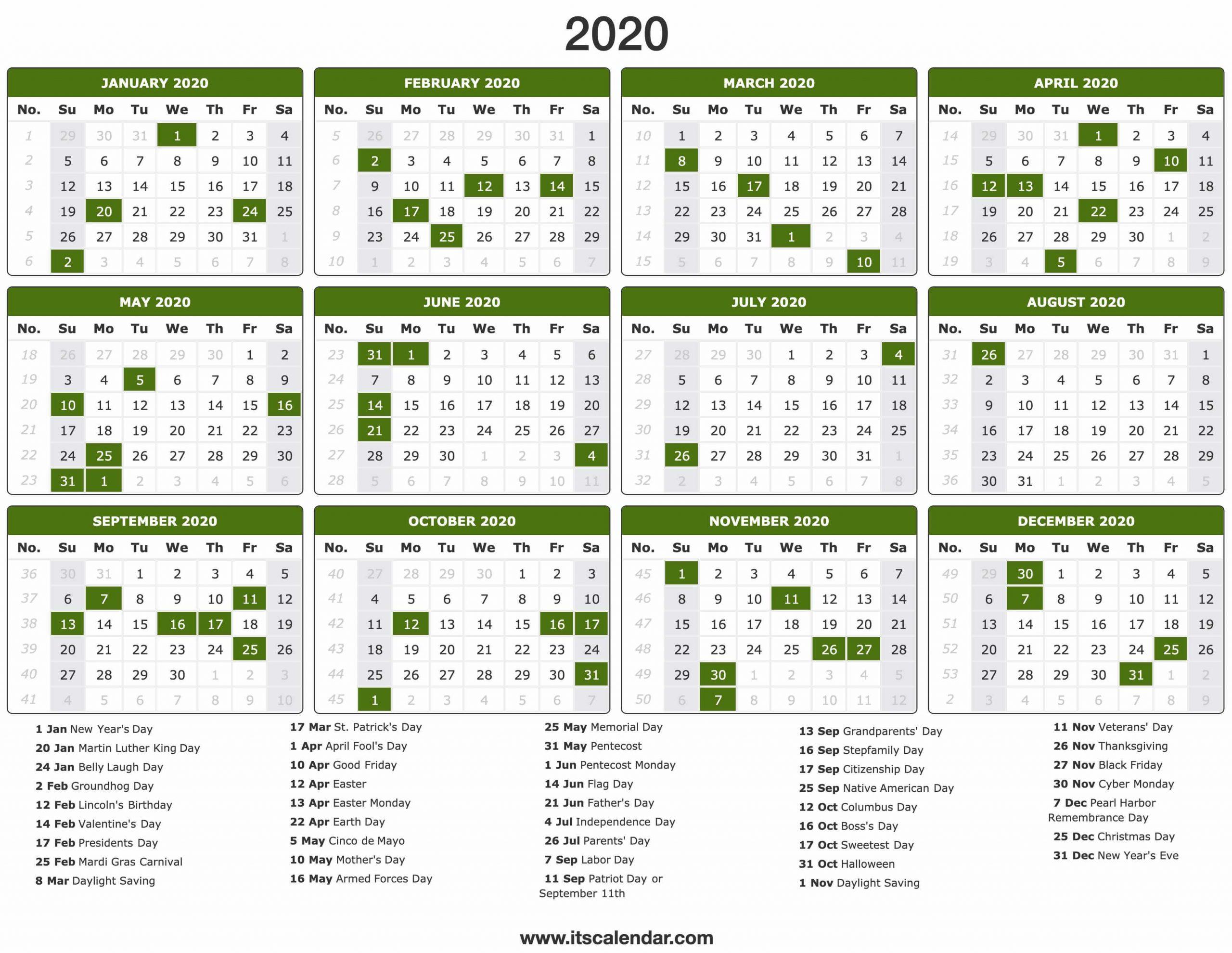 Calendars For 2020 2020 - Togo.wpart.co