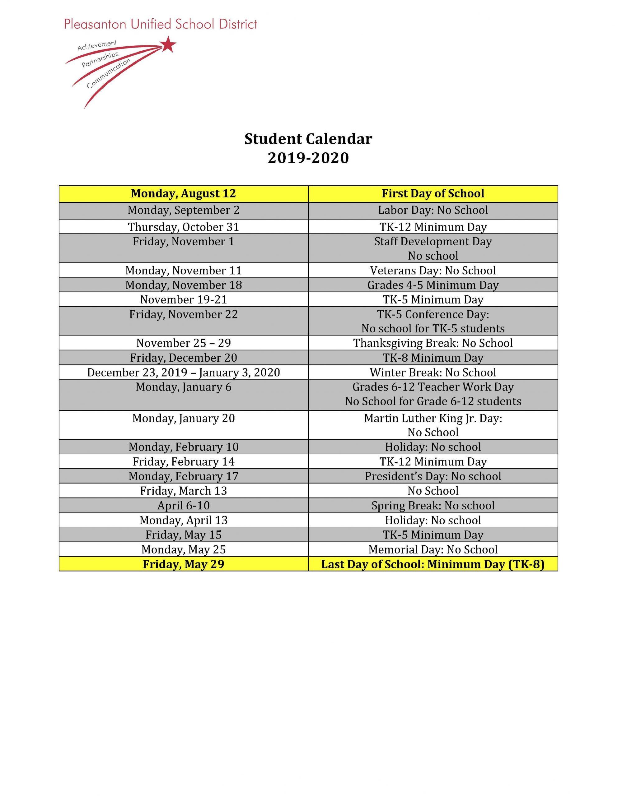 Calendars - Miscellaneous - Pleasanton Unified School District