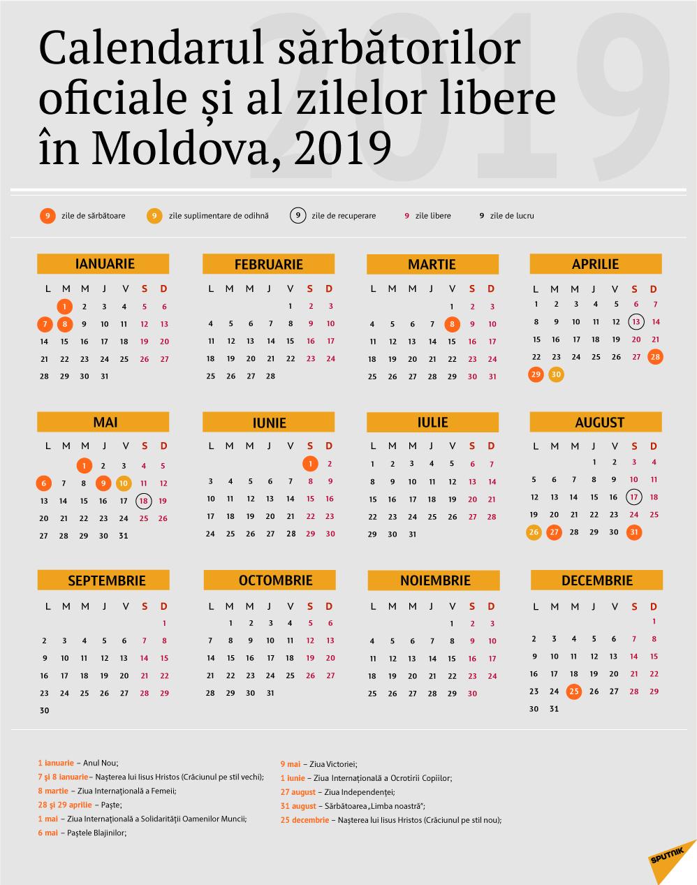 Calendarul Zilelor De Odihnă În Moldova Pentru Anul 2019