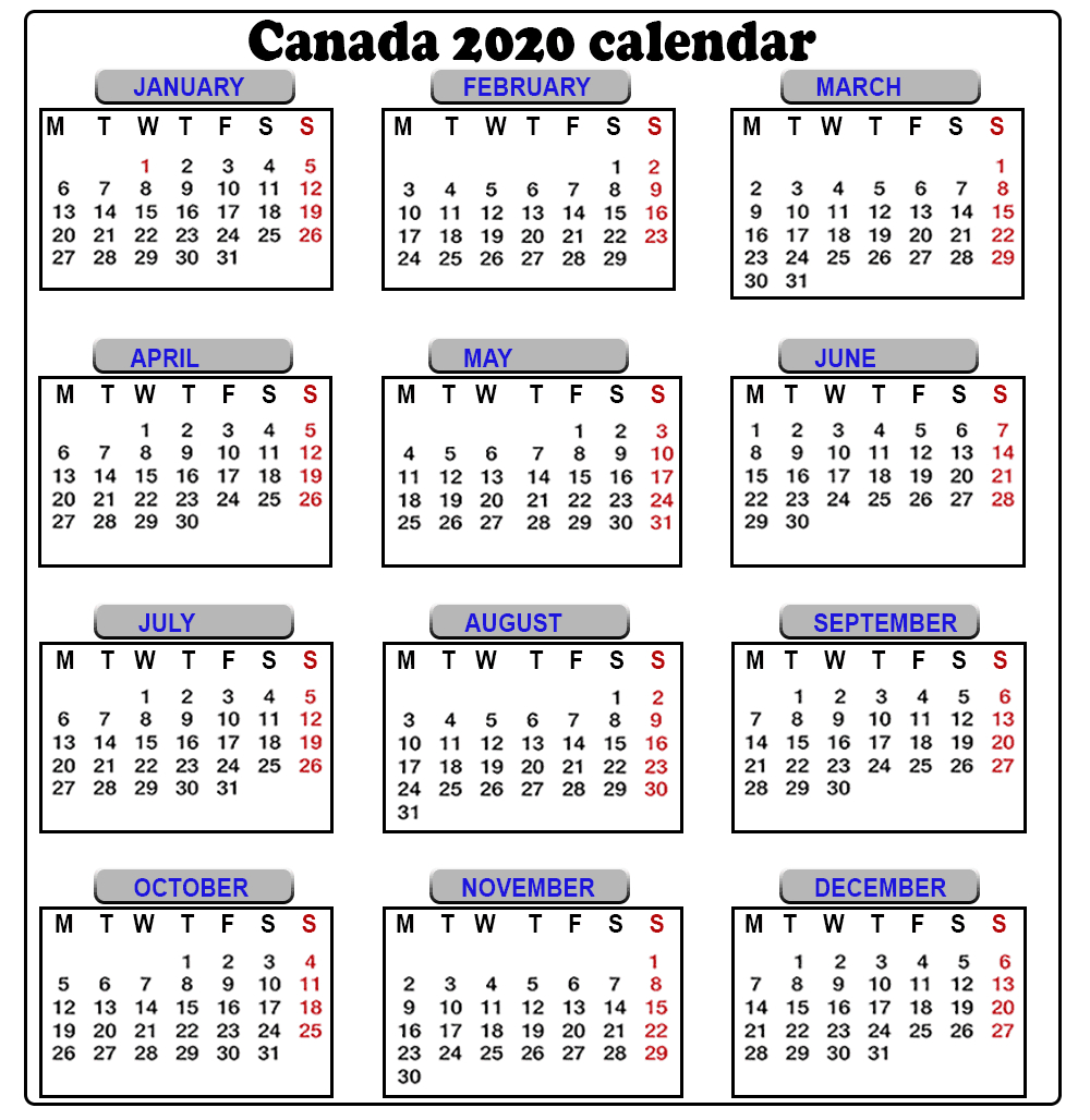 Canada 2020 Printable Calendar With Holidays, Word, Excel