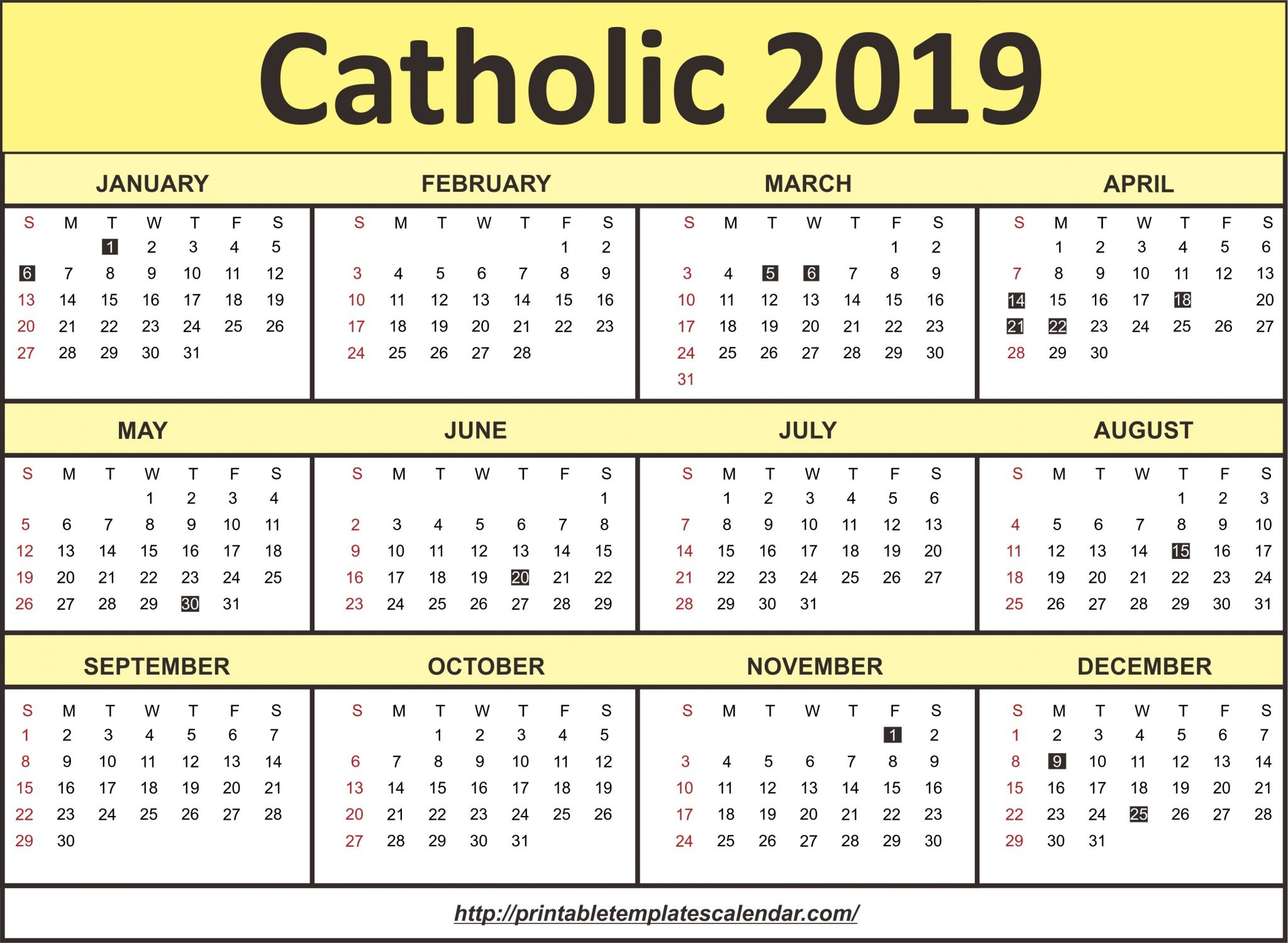 Catholic Monthly Archives - Calendaro