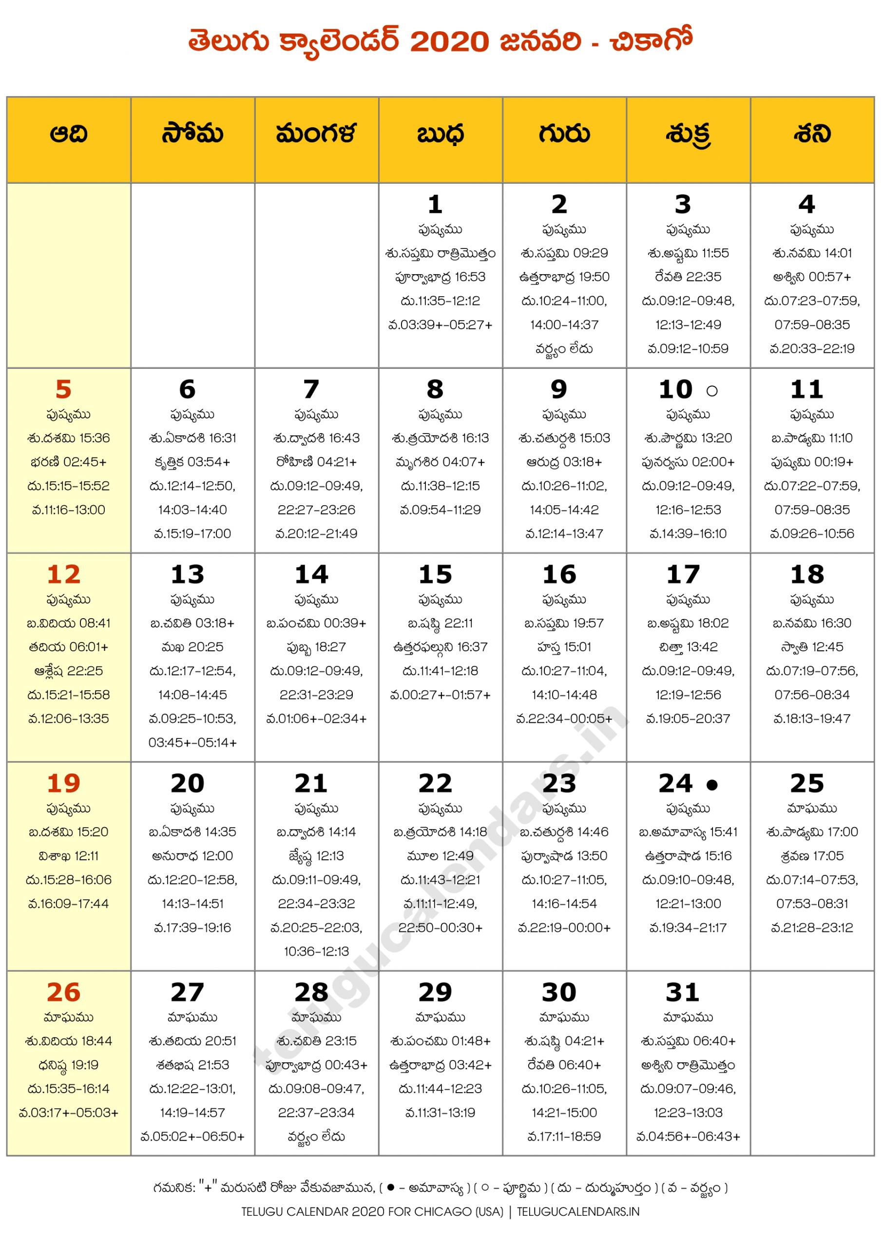 Chicago 2020 January Telugu Calendar | Telugu Calendars