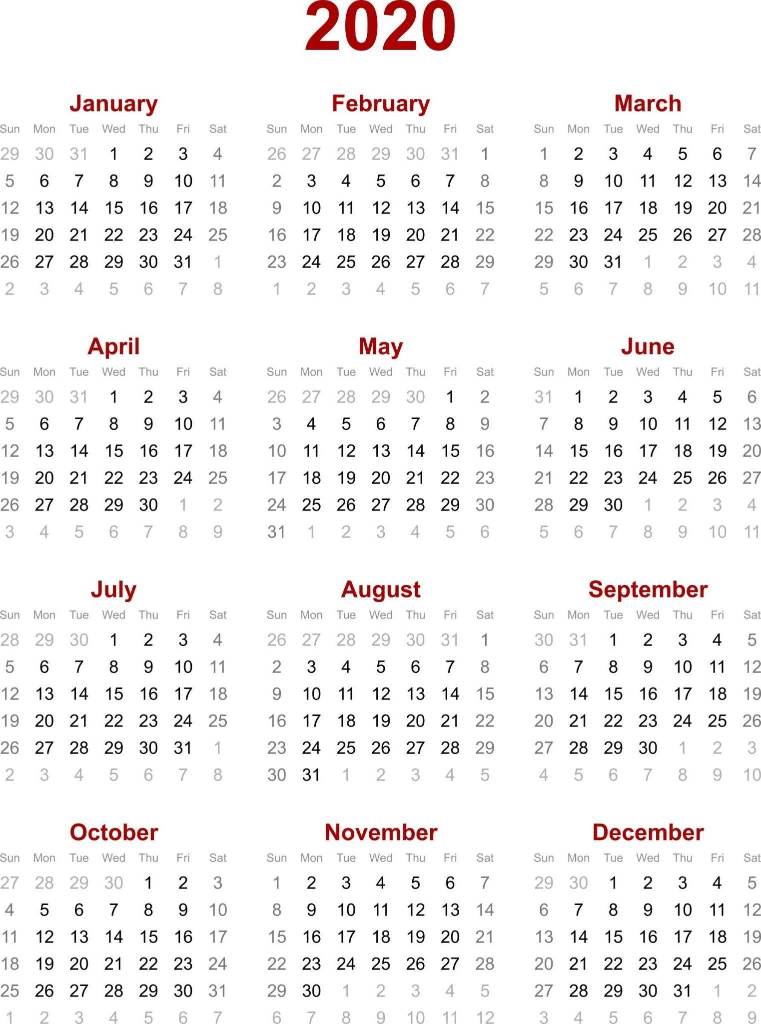 Chinese Calendar 2020 Printable Template | Calendar 2020