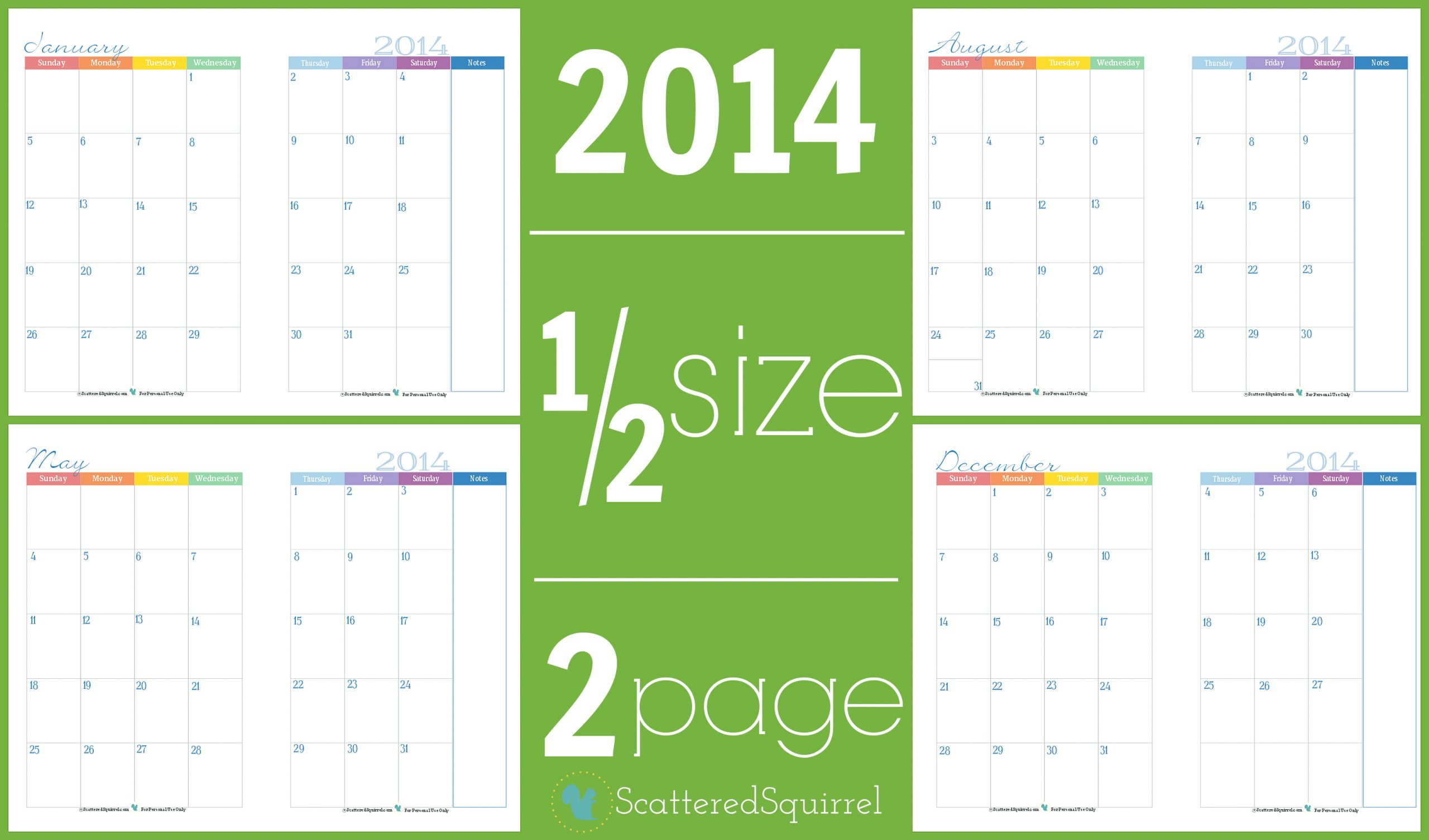 Color Pages ~ Two Page Monthlylendar Half Sizelendars Part