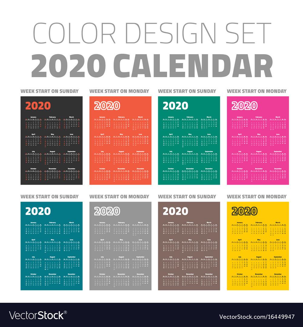 Color Pocket Calendar Set 2020