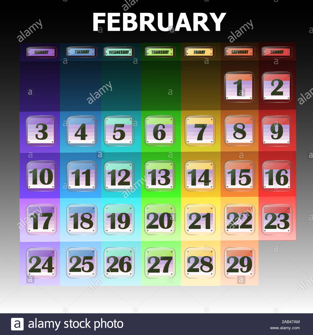 Colorful Calendar For February 2020 In English. Set Of
