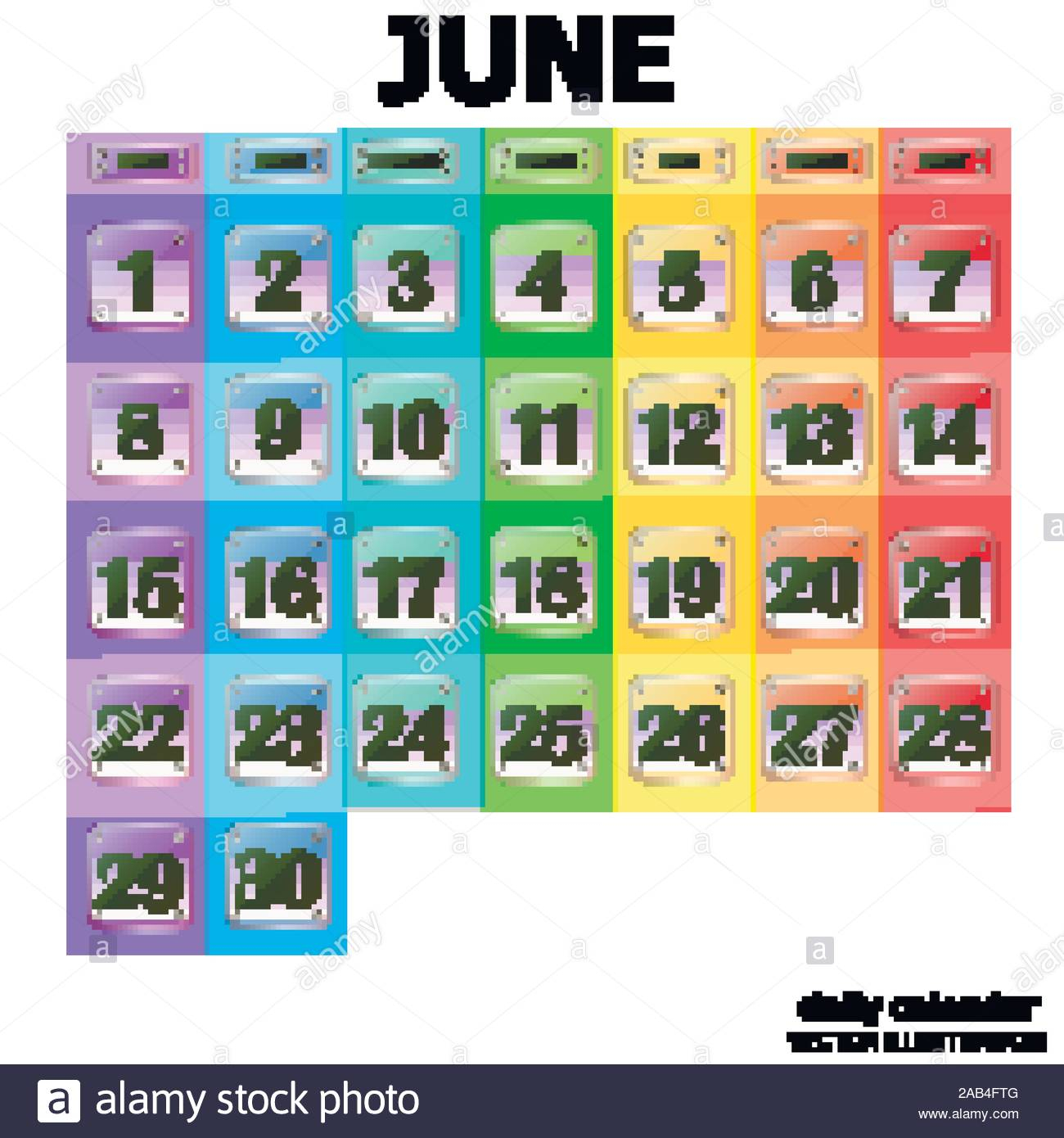 Colorful Calendar For June 2020 In English. Set Of Buttons