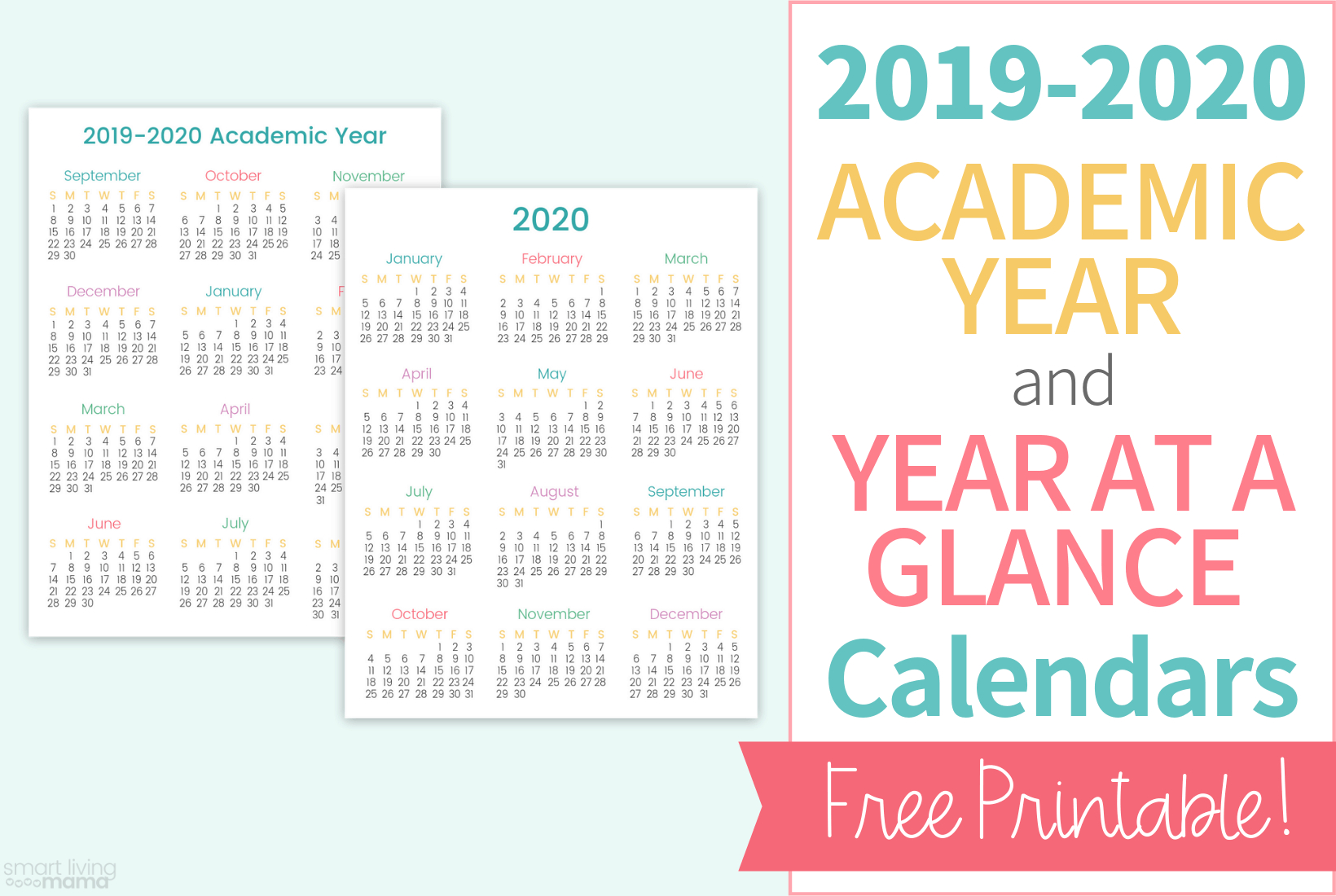 Colorful Printable Calendars For 2019-2020 | Smart Living Mama
