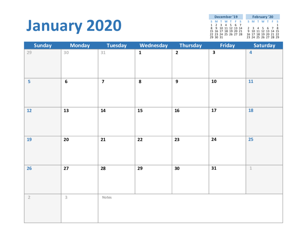 Create Your January 2020 Calendar Printable - Editable Blank
