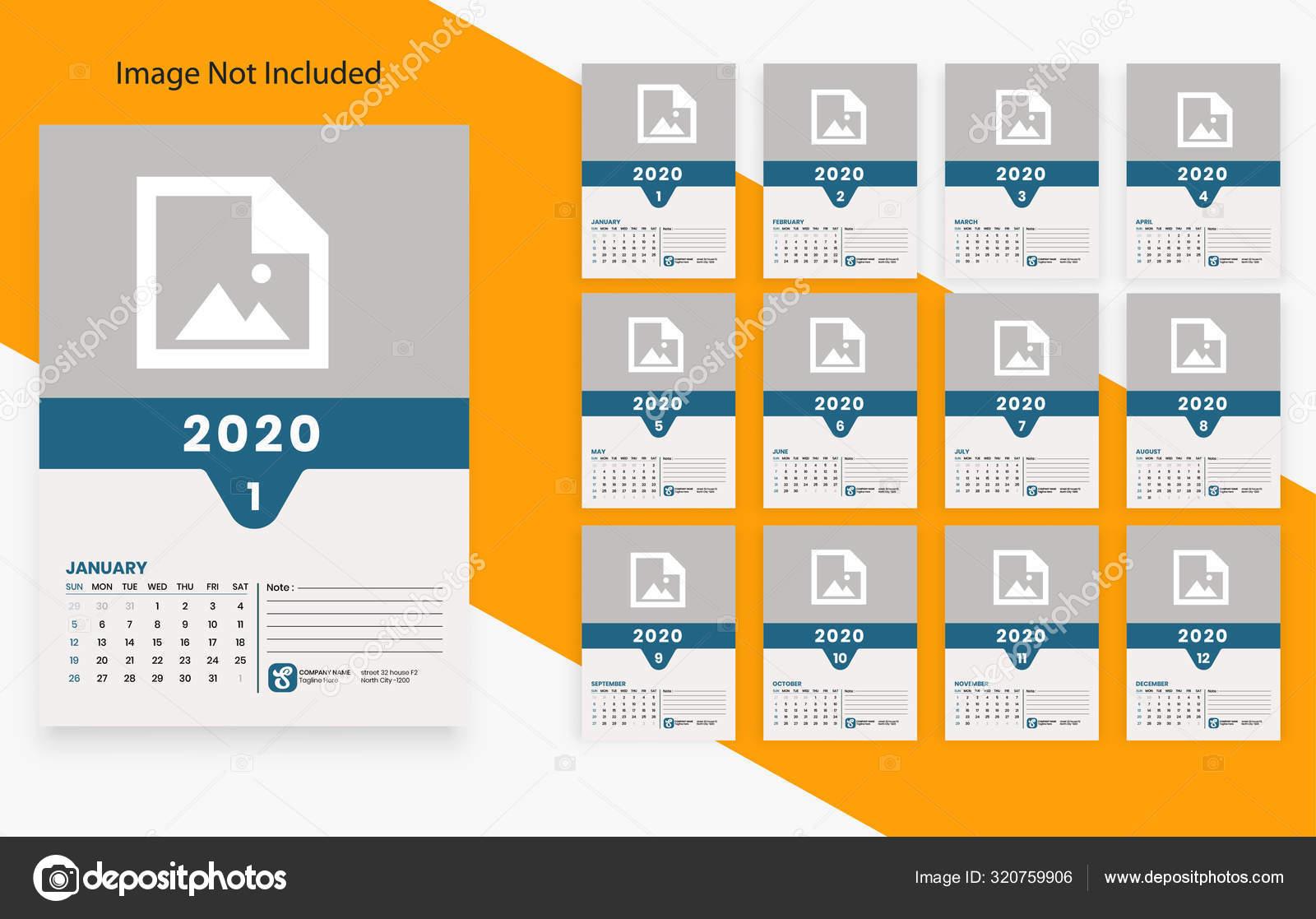 Creative Clean Size Calendar 2020 Template Design