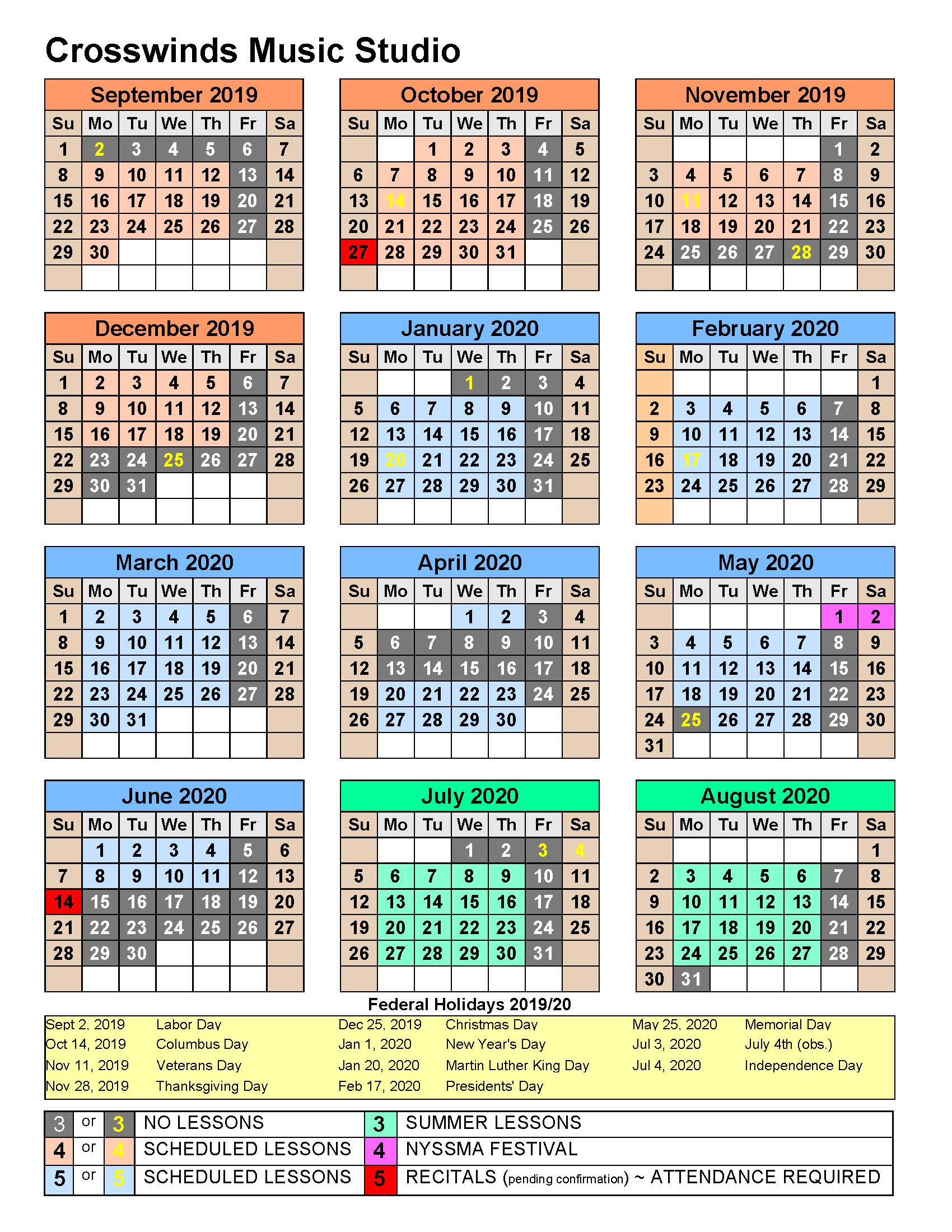 "Crosswinds Music Studio - ""2019-2020"" Studio Calendar"