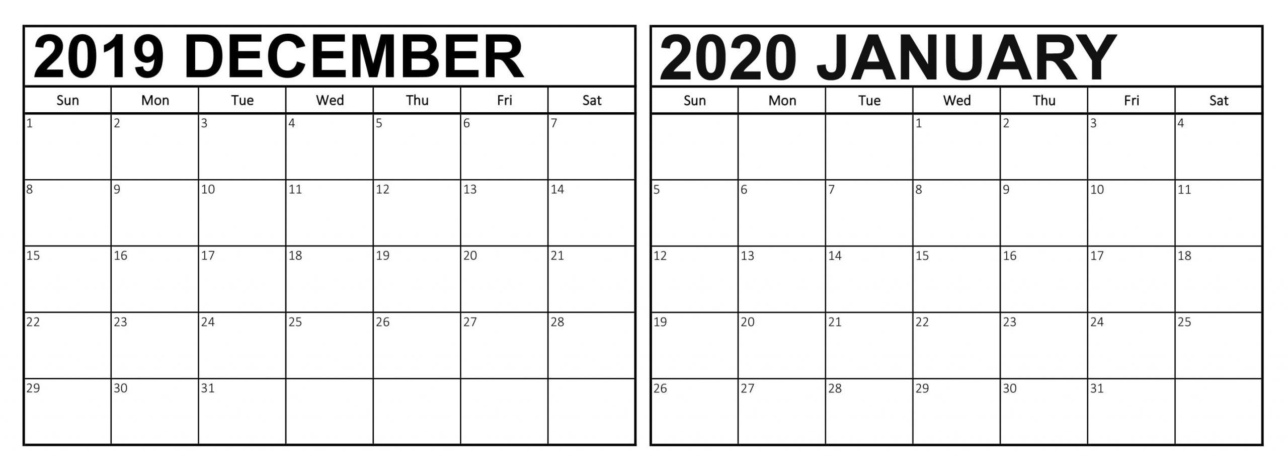 Cute December 2019 January 2020 Calendar Wallpaper - 2019