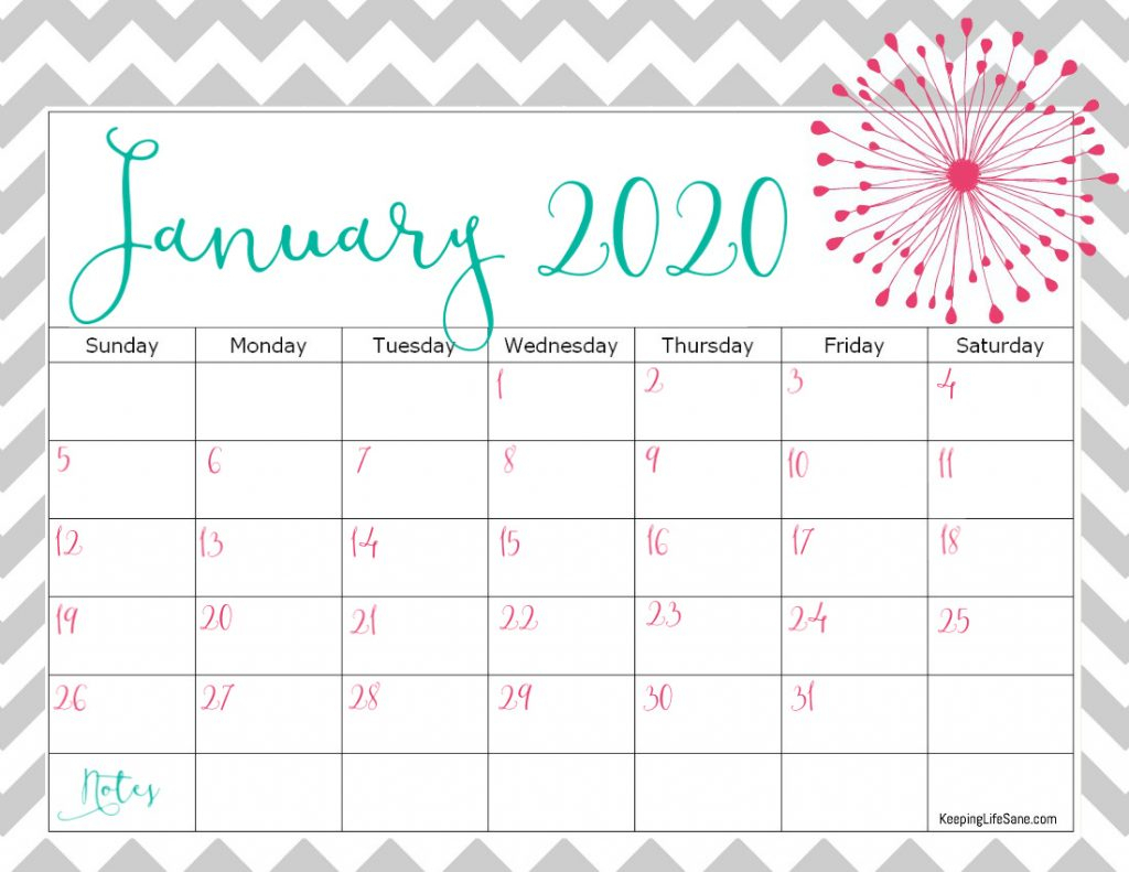 Cute Free 2020 Printable Calendar - Keeping Life Sane