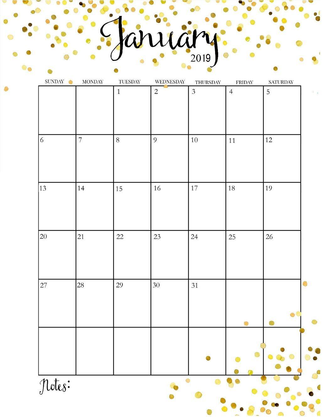 Cute January 2019 Calendar | Календарь На Август