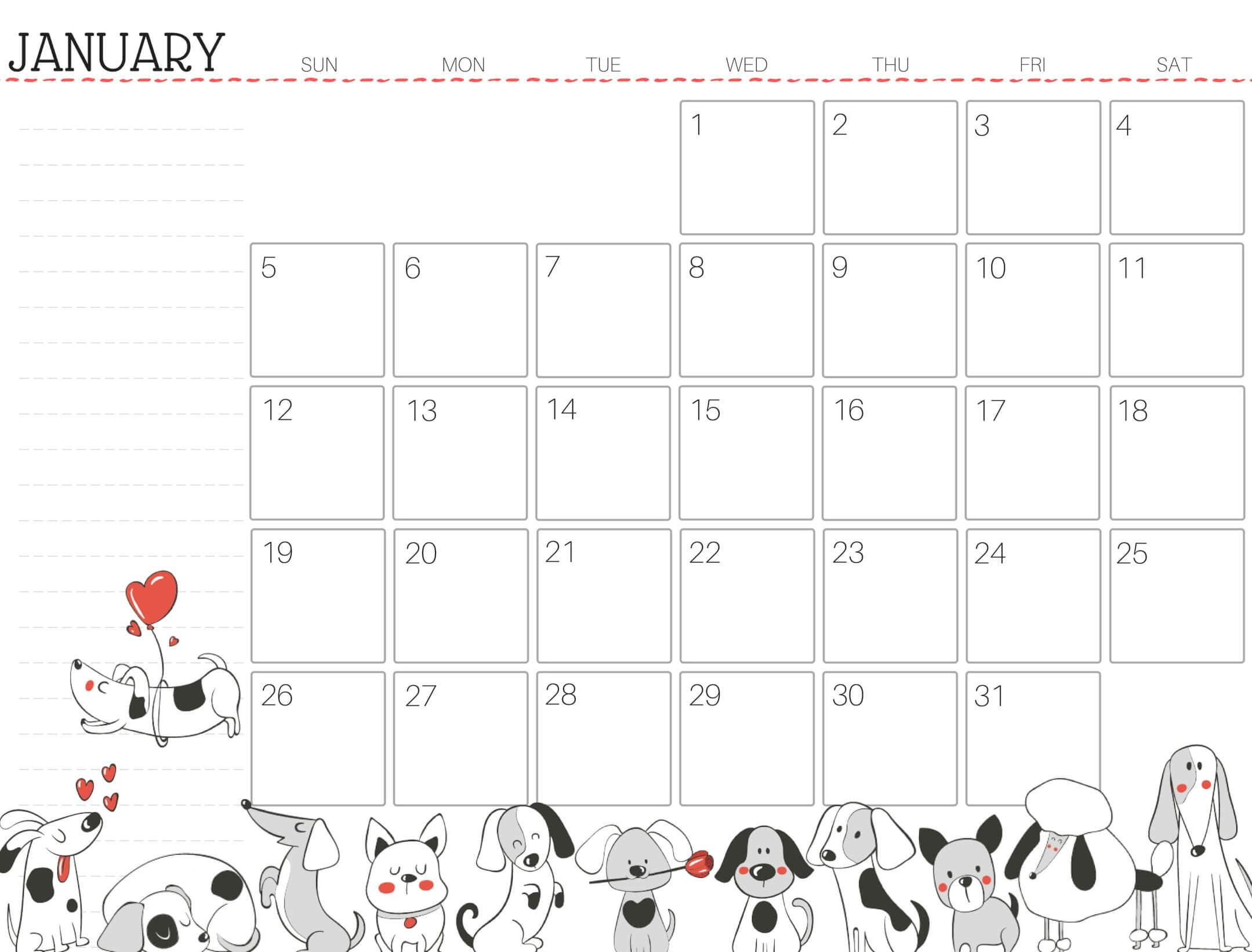 Cute January 2020 Calendar Design Printable Template - Set