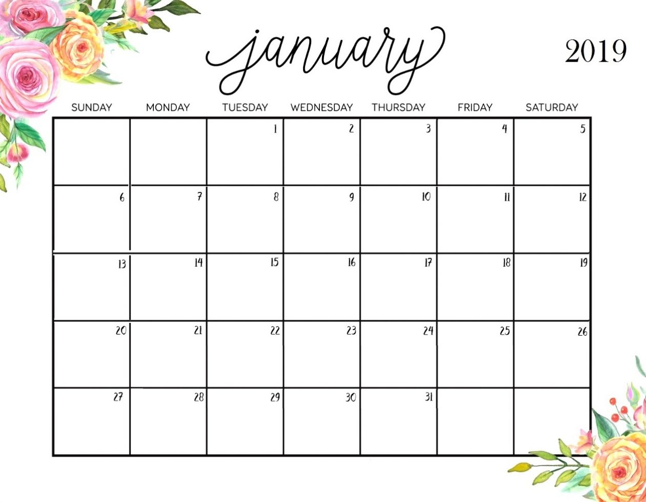 Cute January 2020 Calendar Printable - Togo.wpart.co