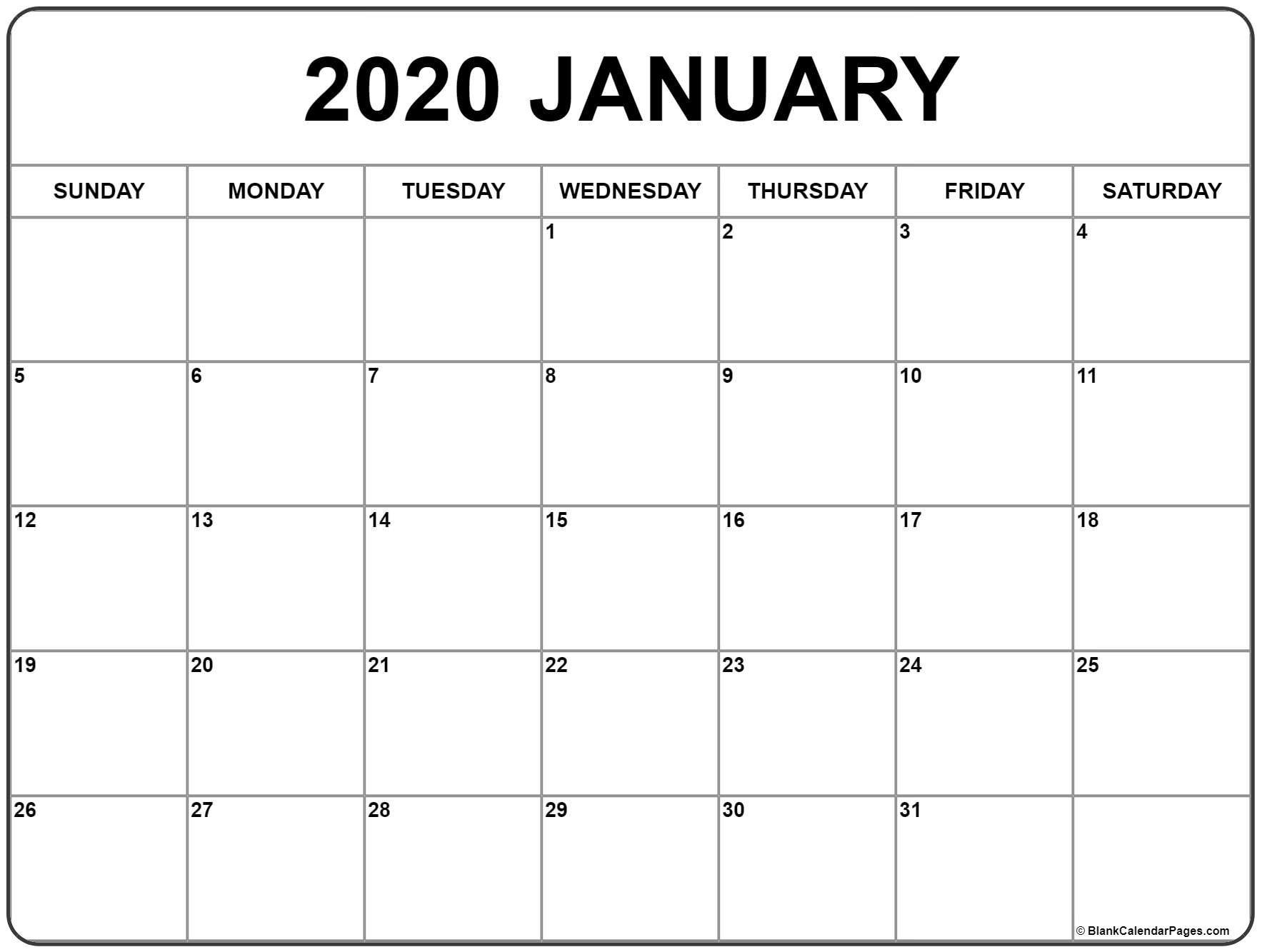 Cute January 2020 Calendar Printable - Togo.wpart.co