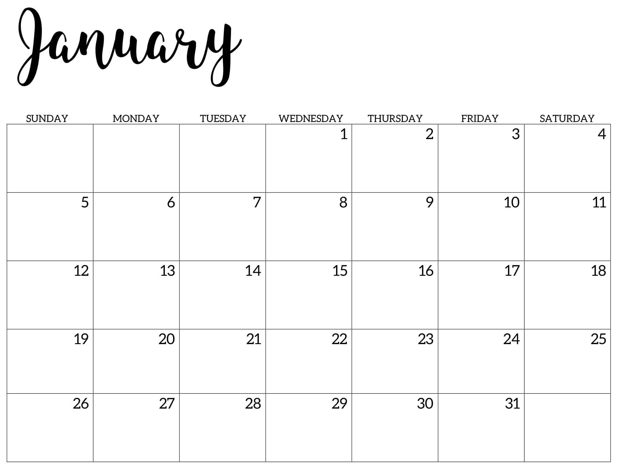 Cute January 2020 Calendar Printable Wallpaper Template