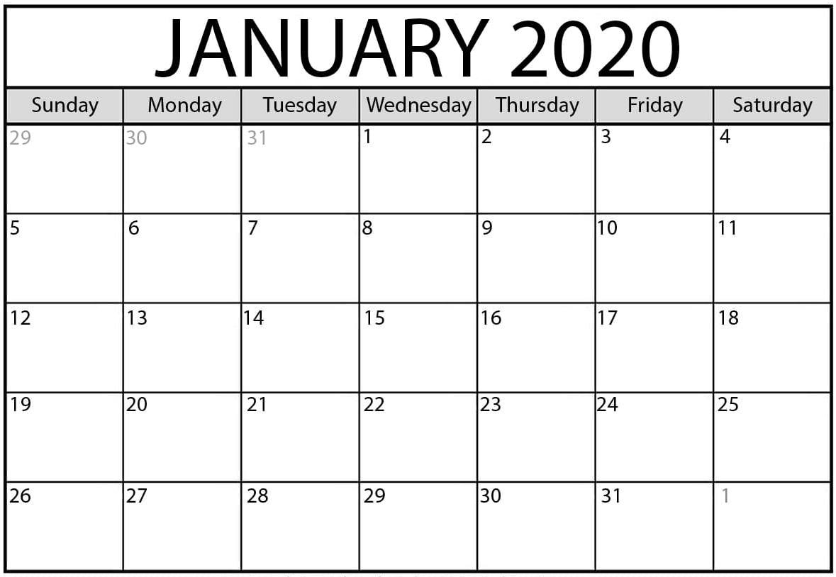 Cute January 2020 Calendar Word Printable Template - Set