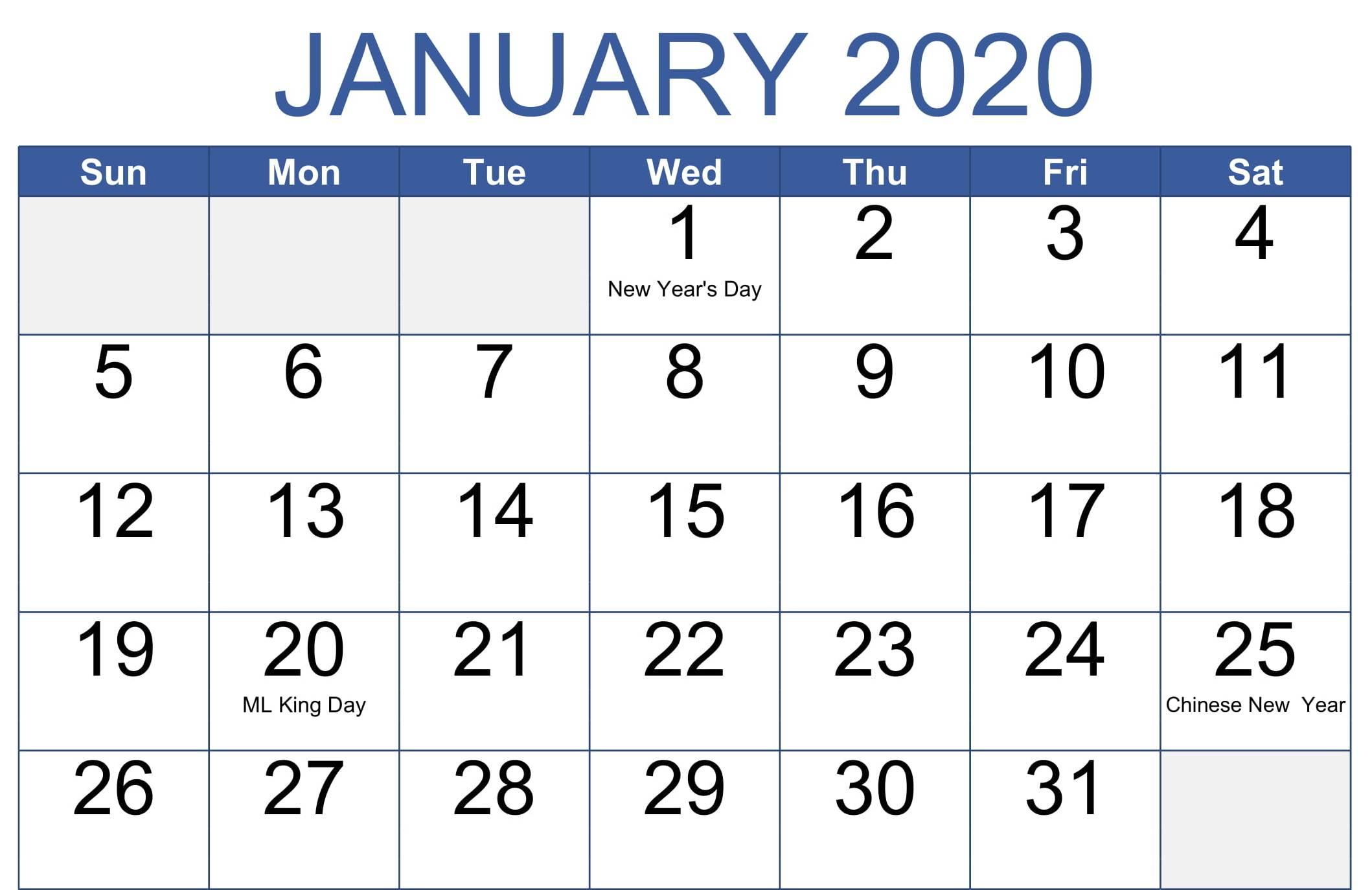 Cute January 2020 Calendar Word Printable Template - Set