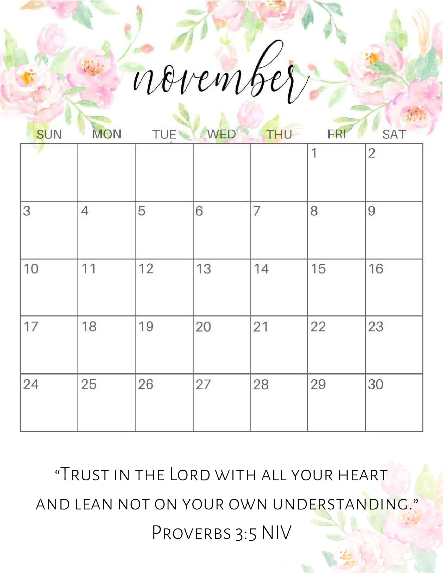 Cute November 2019 Calendar Printable Designs - 2019