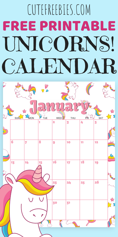 Cute Unicorn 2020 Calendar - Free Printable | Agenda Escolar