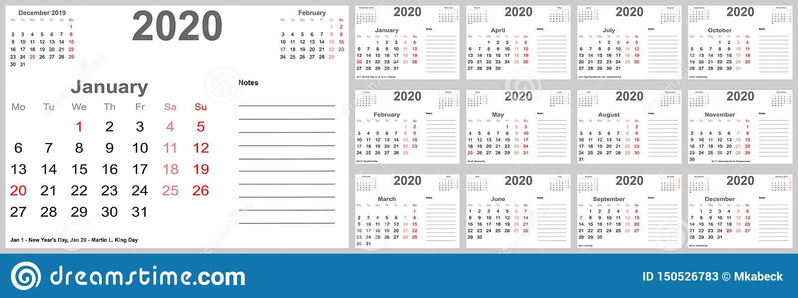 Календарь 2020 Для Сша С Местом Для Примечаний Иллюстрация