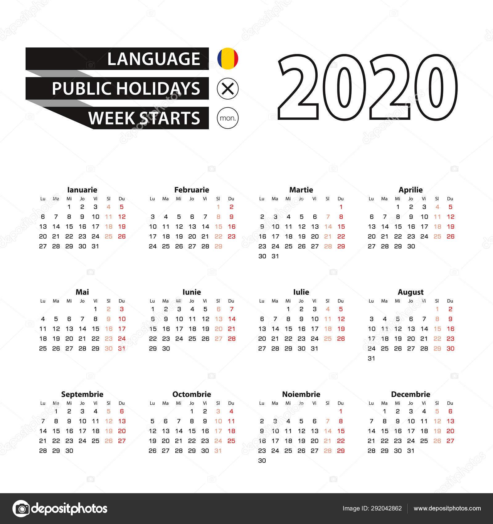 Календарь 2020 На Румынском Языке, Неделя Начинается В