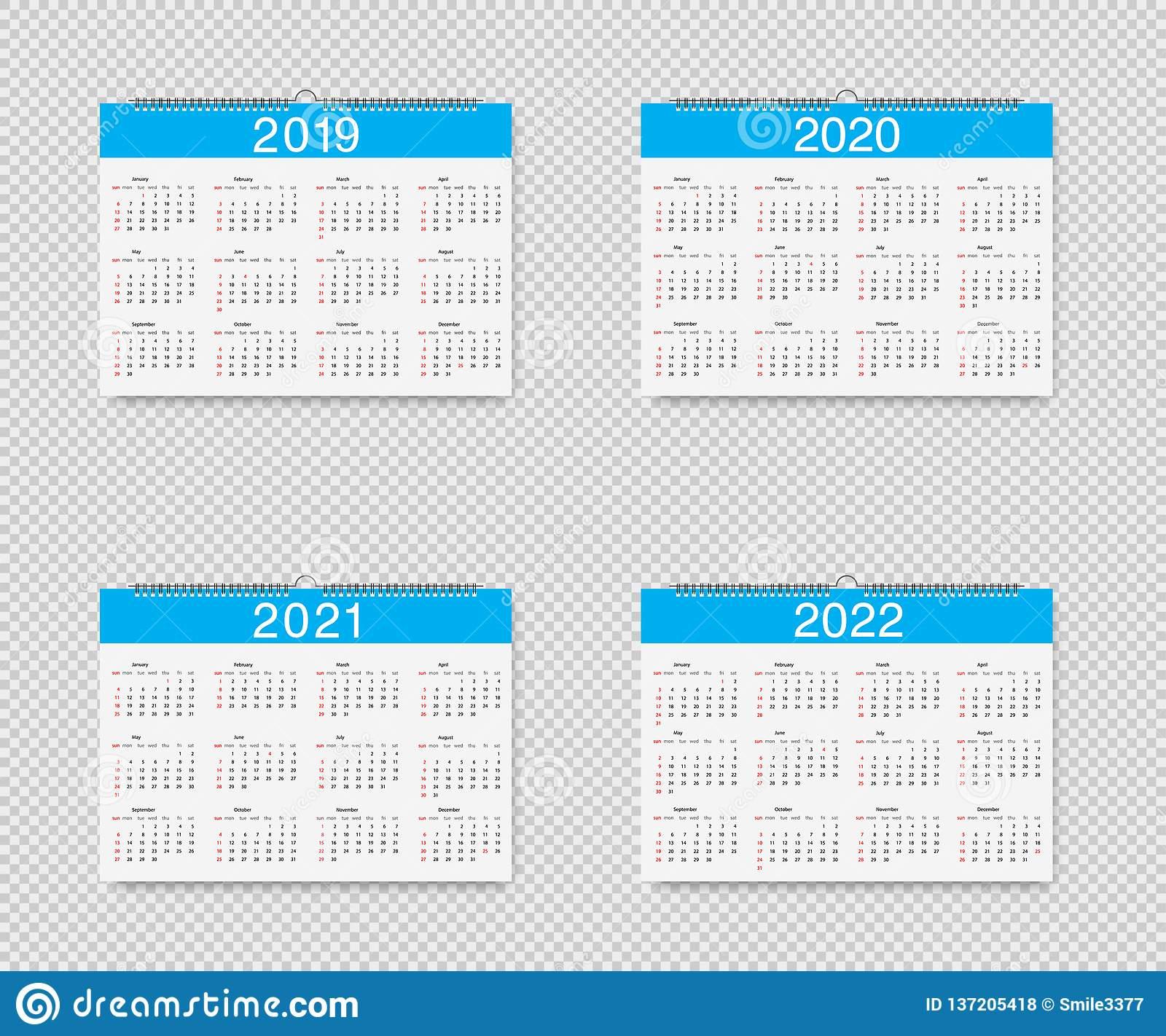 Календарь Вектора 2019, 2020, 2021 И 2022 Лет Календари