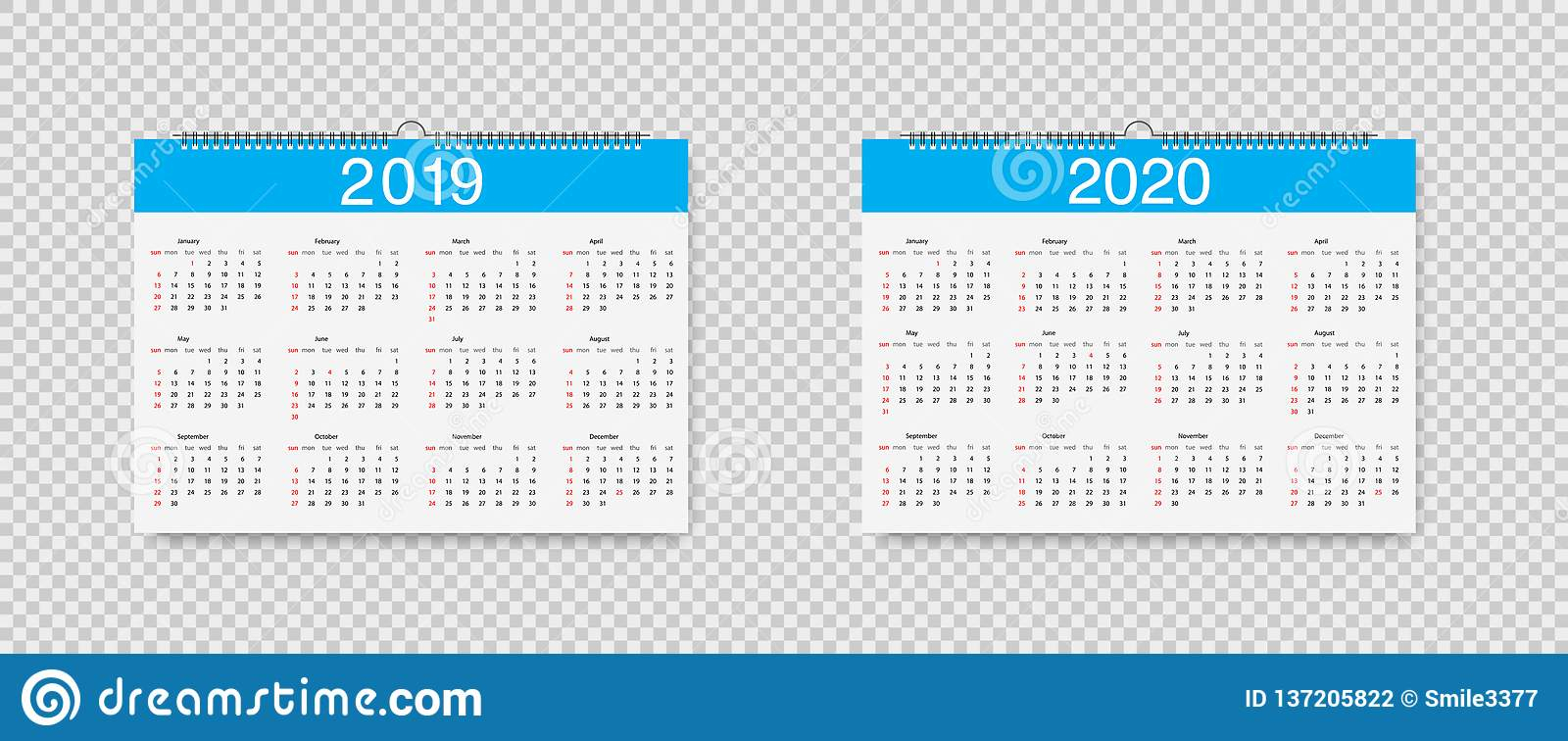 Календарь Вектора 2019 И 2020 Лет Календари Шаблона Loose