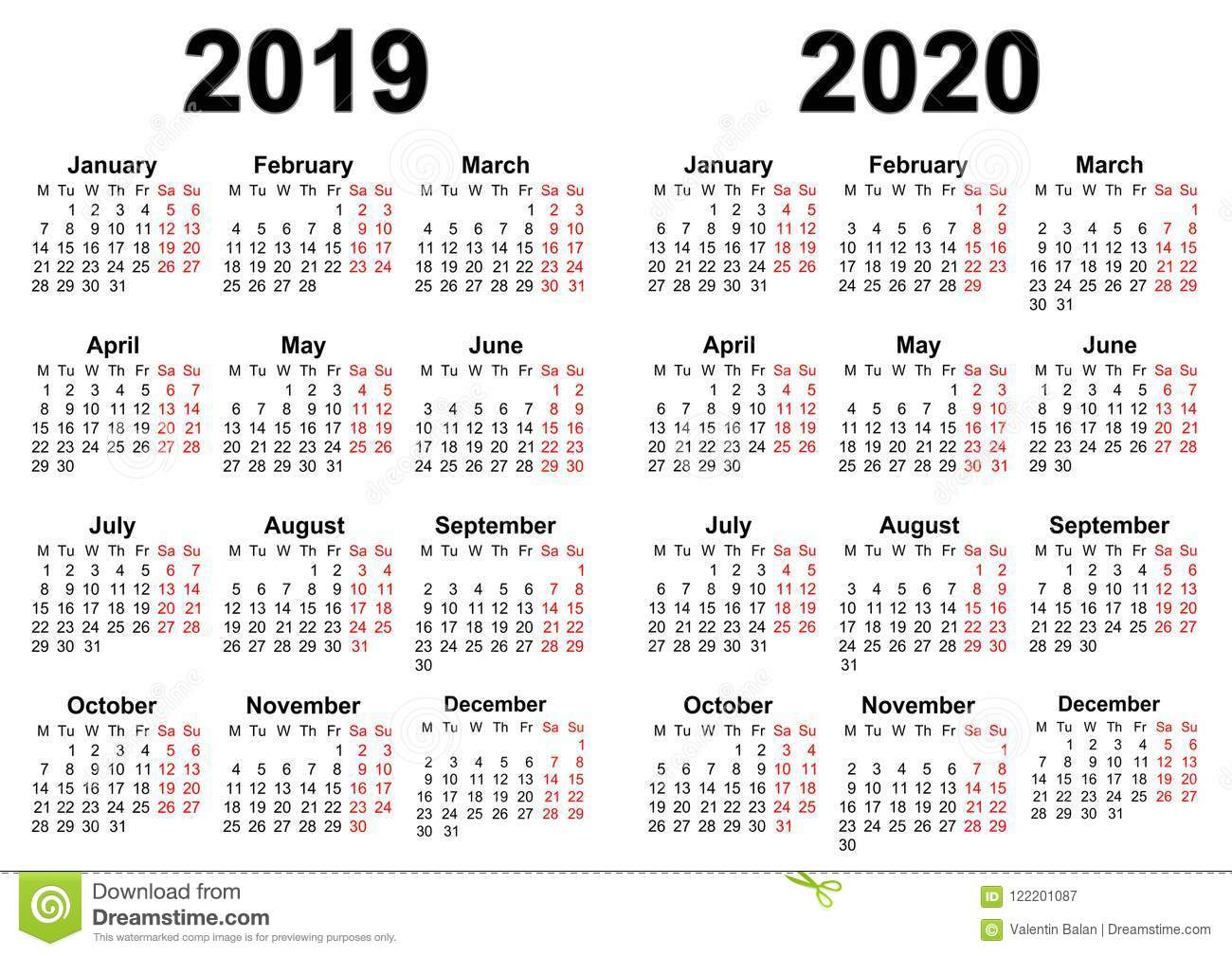 Календарь На 2019 И 2020 Иллюстрация Вектора. Иллюстрации