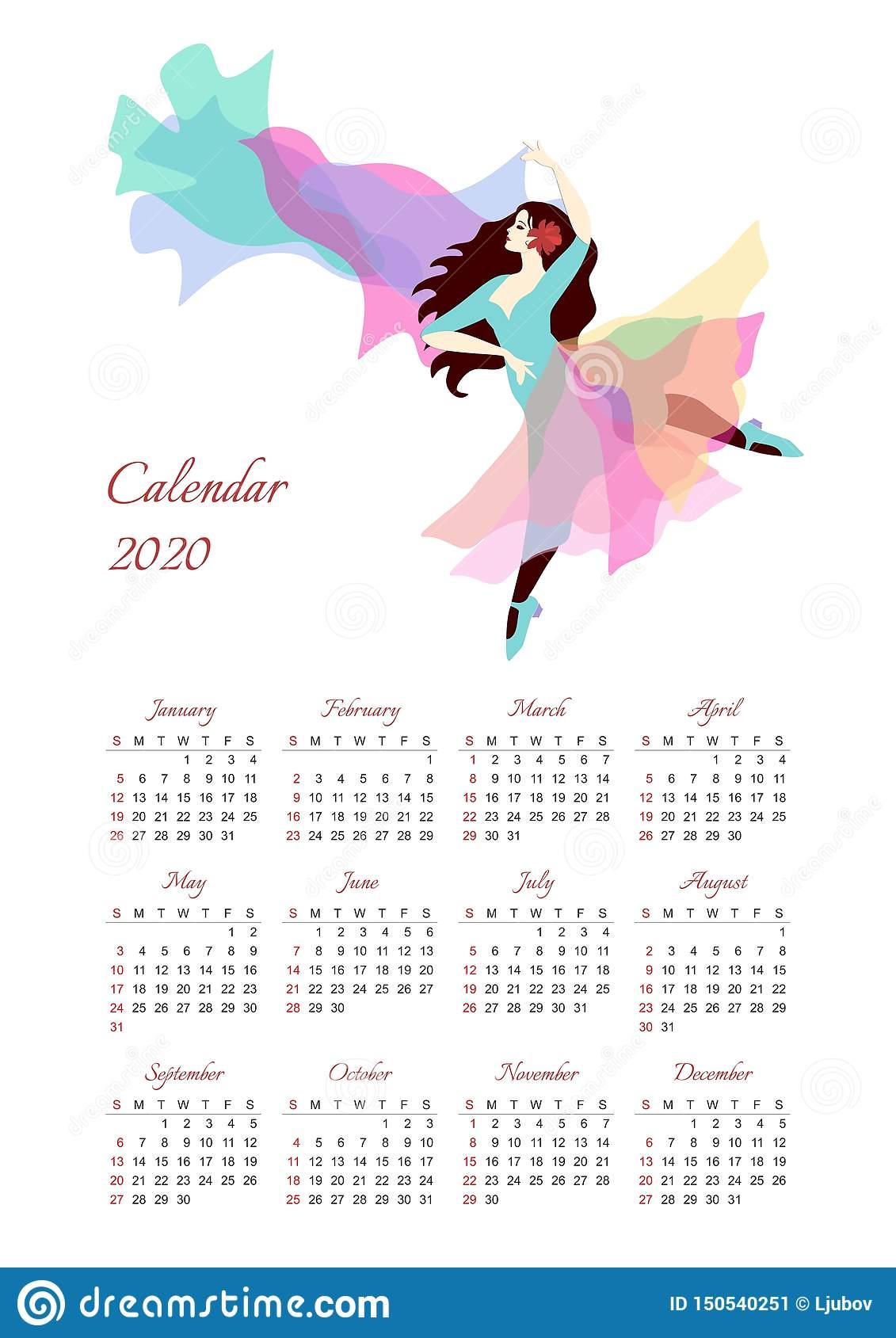 Календарь На 2020 Год С Иллюстрацией Красивой Танцуя Девушки