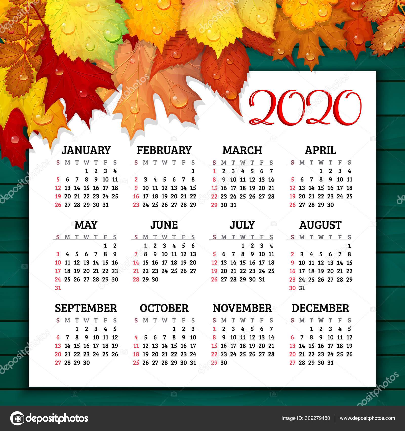 Календарь На 2020 Год С Красочными Осенними Листьями На:rut