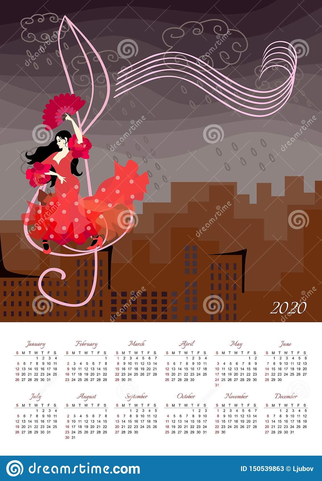 Красивый Календарь На 2020 Год С Иллюстрацией С Девушкой В