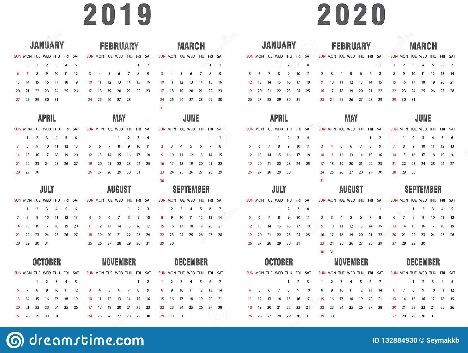 Серый Цвет 2019-2020 И Белизна Календаря Иллюстрация Вектора