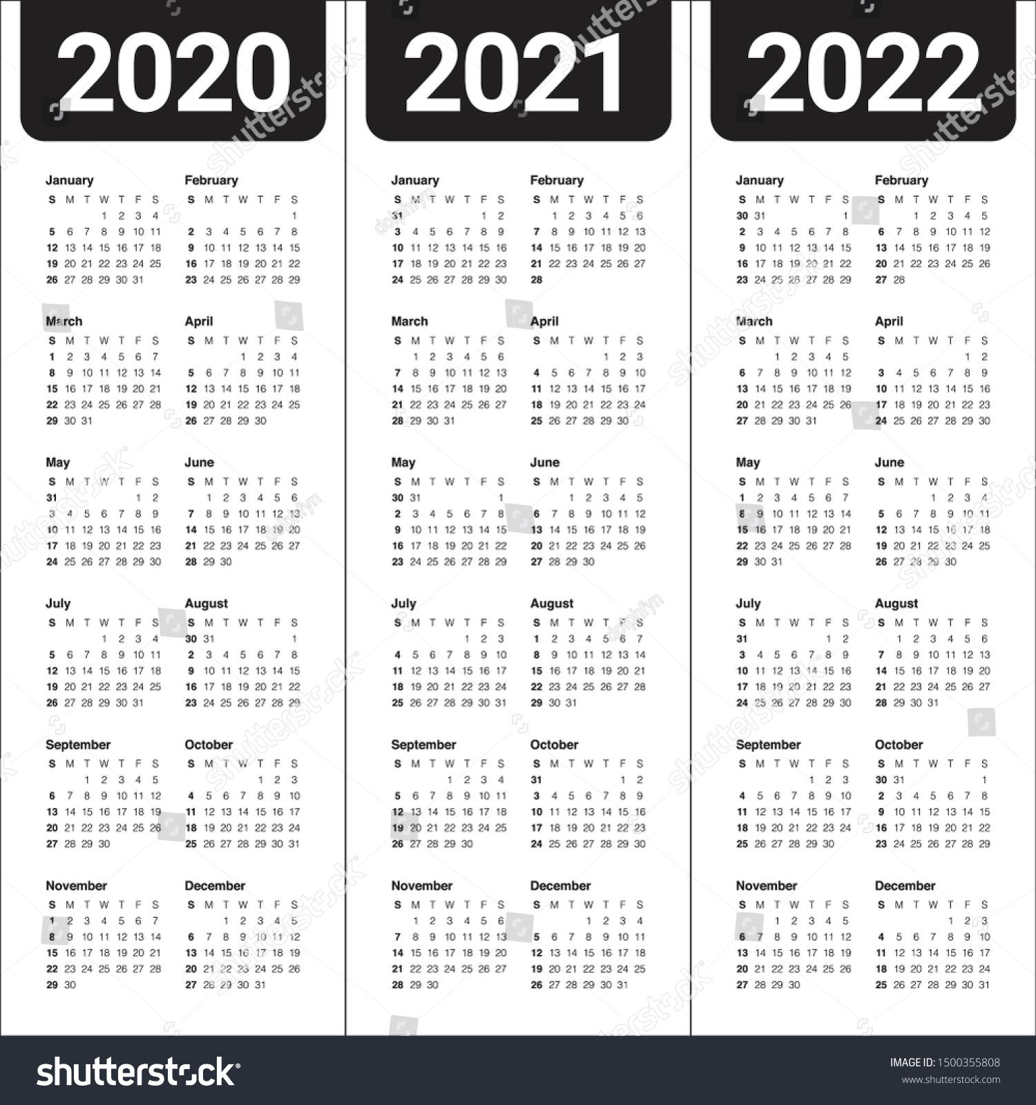Стоковая Векторная Графика «Year 2020 2021 2022 Calendar