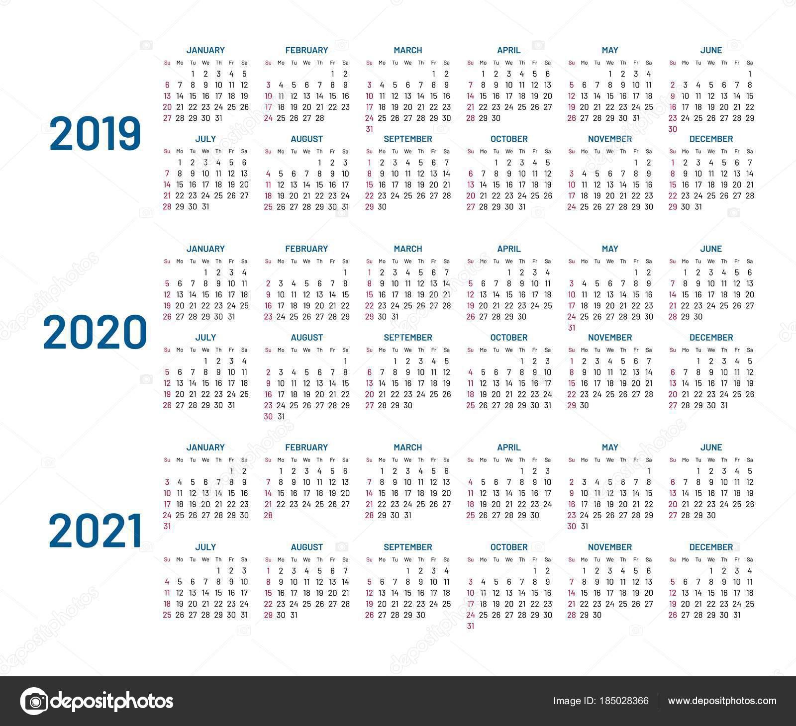 Три Года Календарь, 2019, 2020, 2021, Изолированные, Плоский