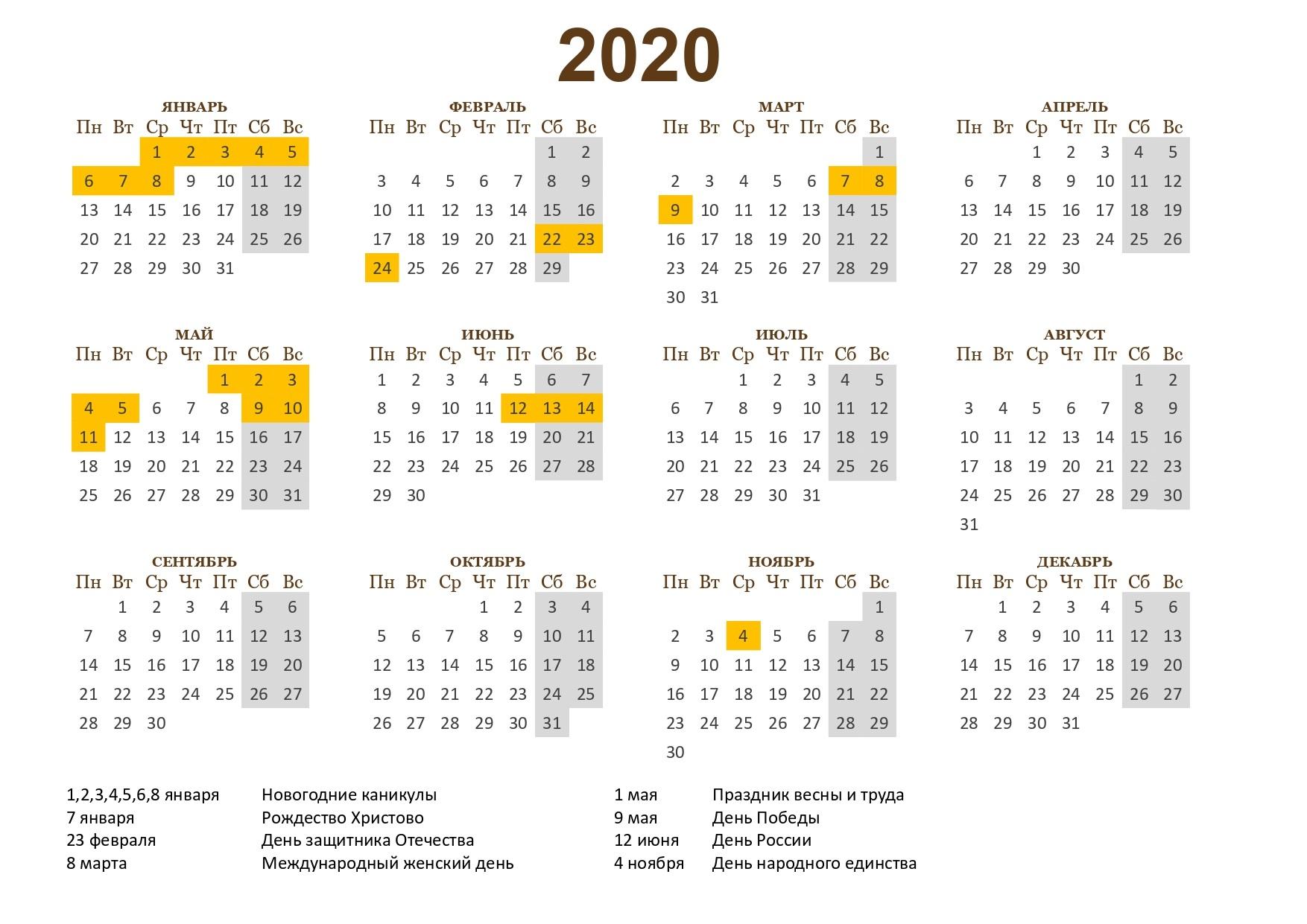 Утвержден Календарь Выходных И Праздников На 2020 Год
