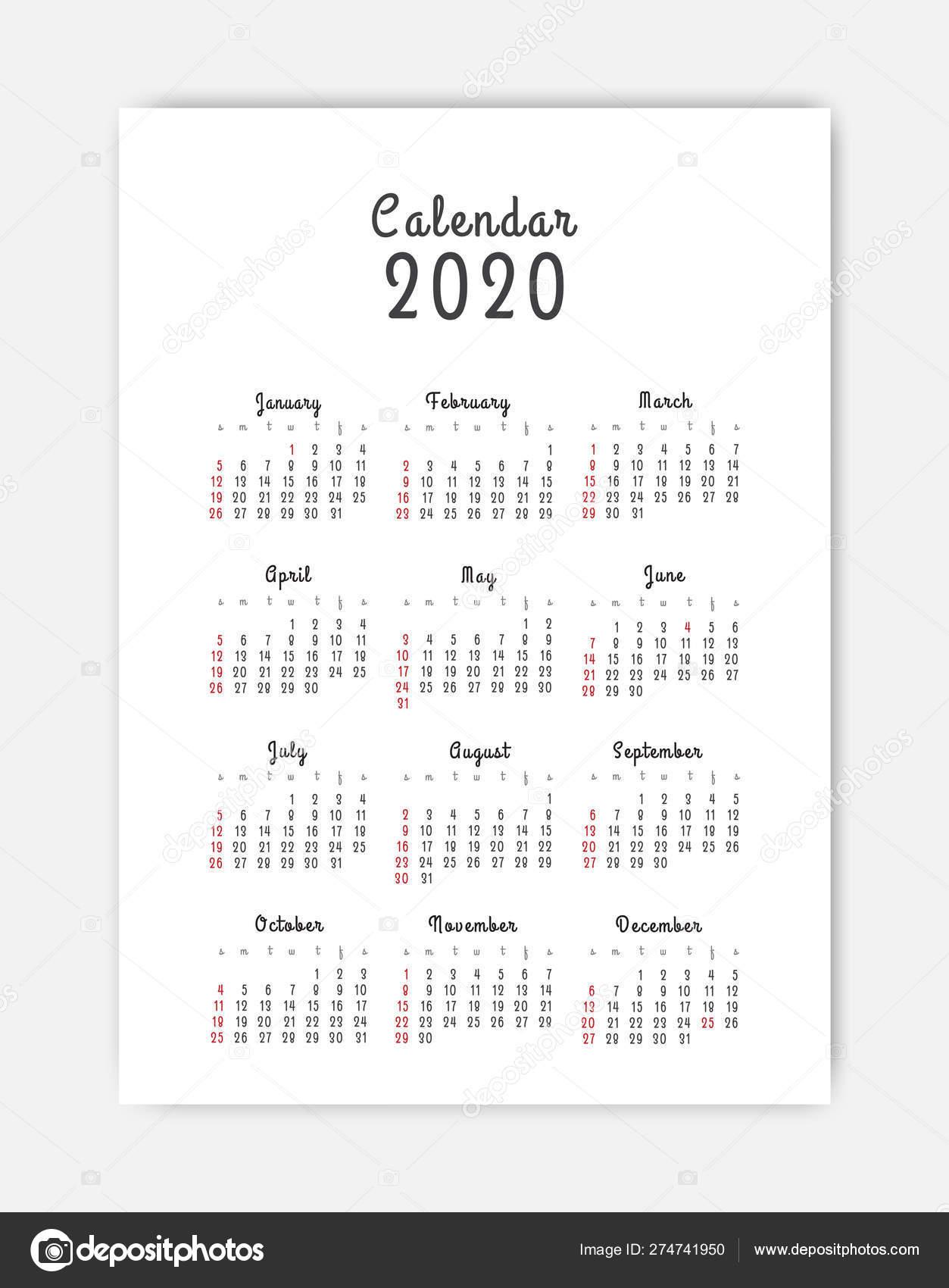 Шаблон Календарь 2020. 12 Месяцев. Включают Праздничное