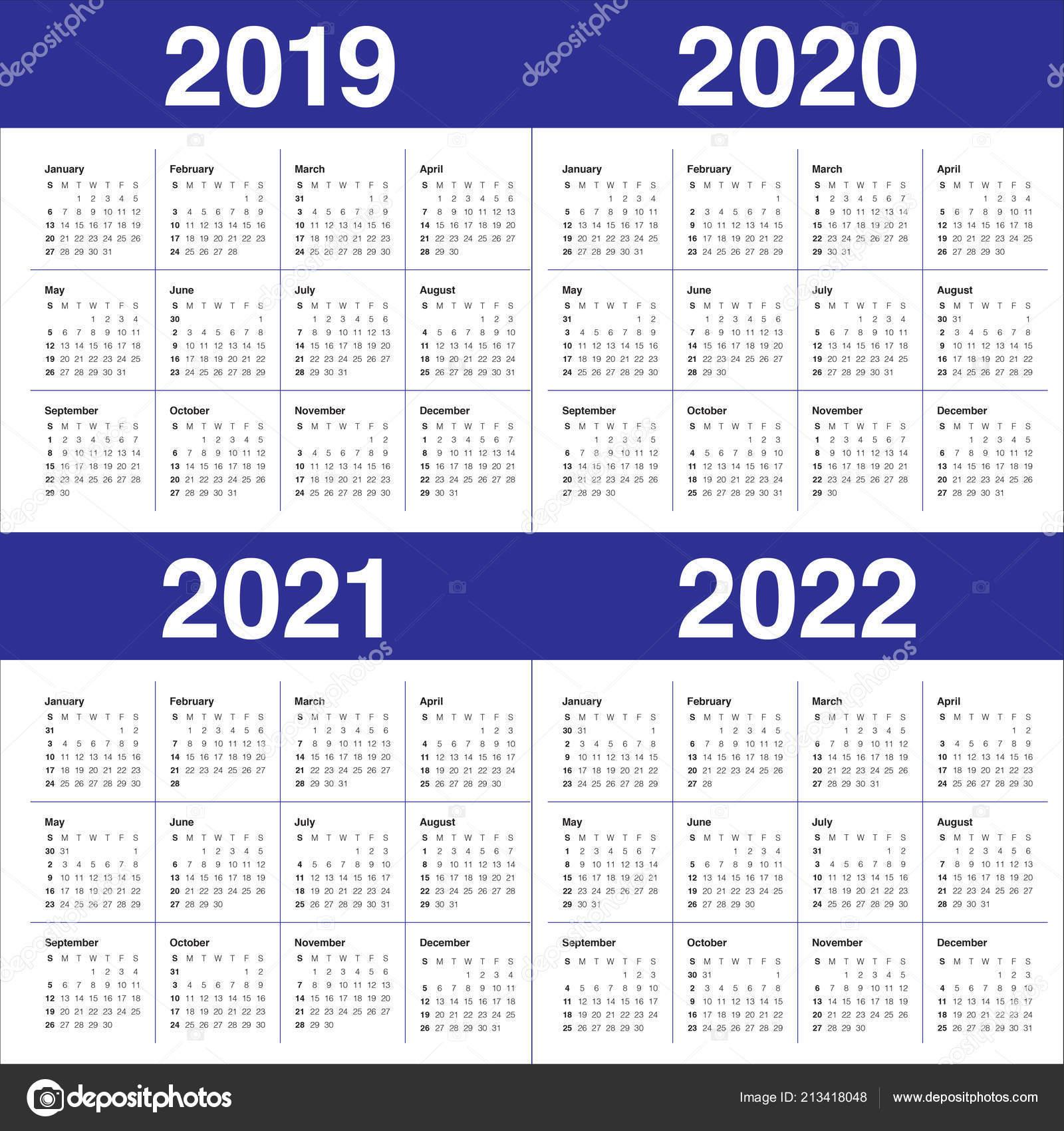 Шаблон Оформления Вектор Календарь 2019 2020 2021 2022 Год