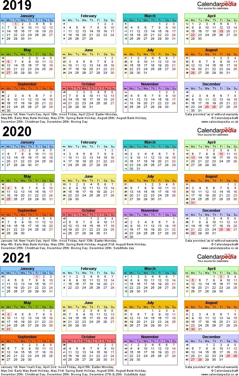 Dandy 3 Year Printable Calendar 2019 To 2021 : Mini Calendar
