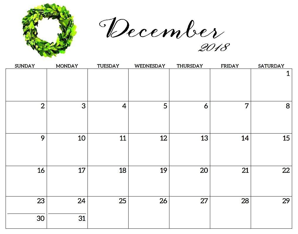December 2018 Calendar Template Hourly Printable Calendar