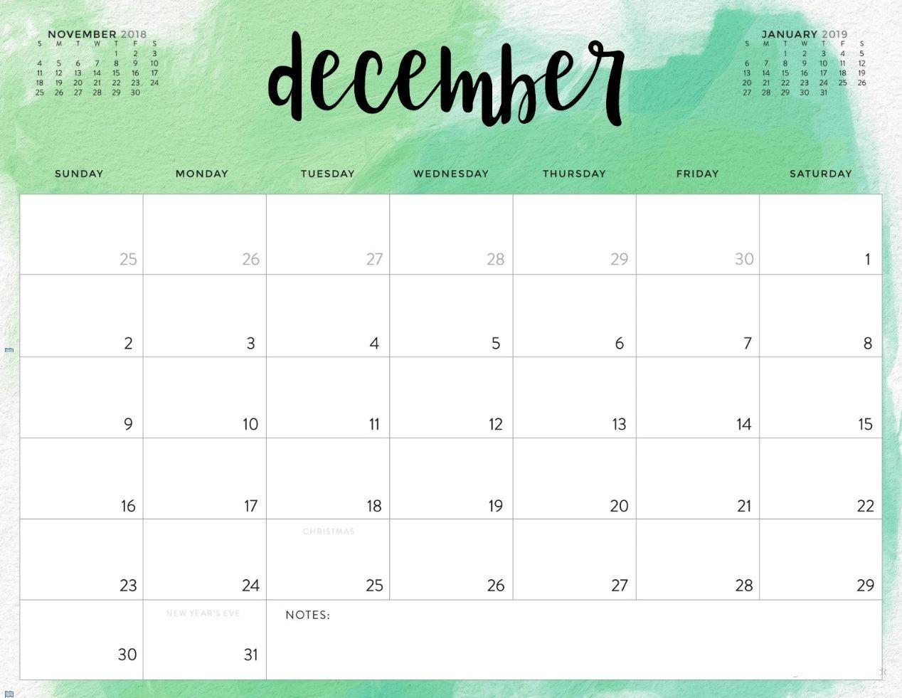 December 2018 Calendar With Holidays Notes | Printable