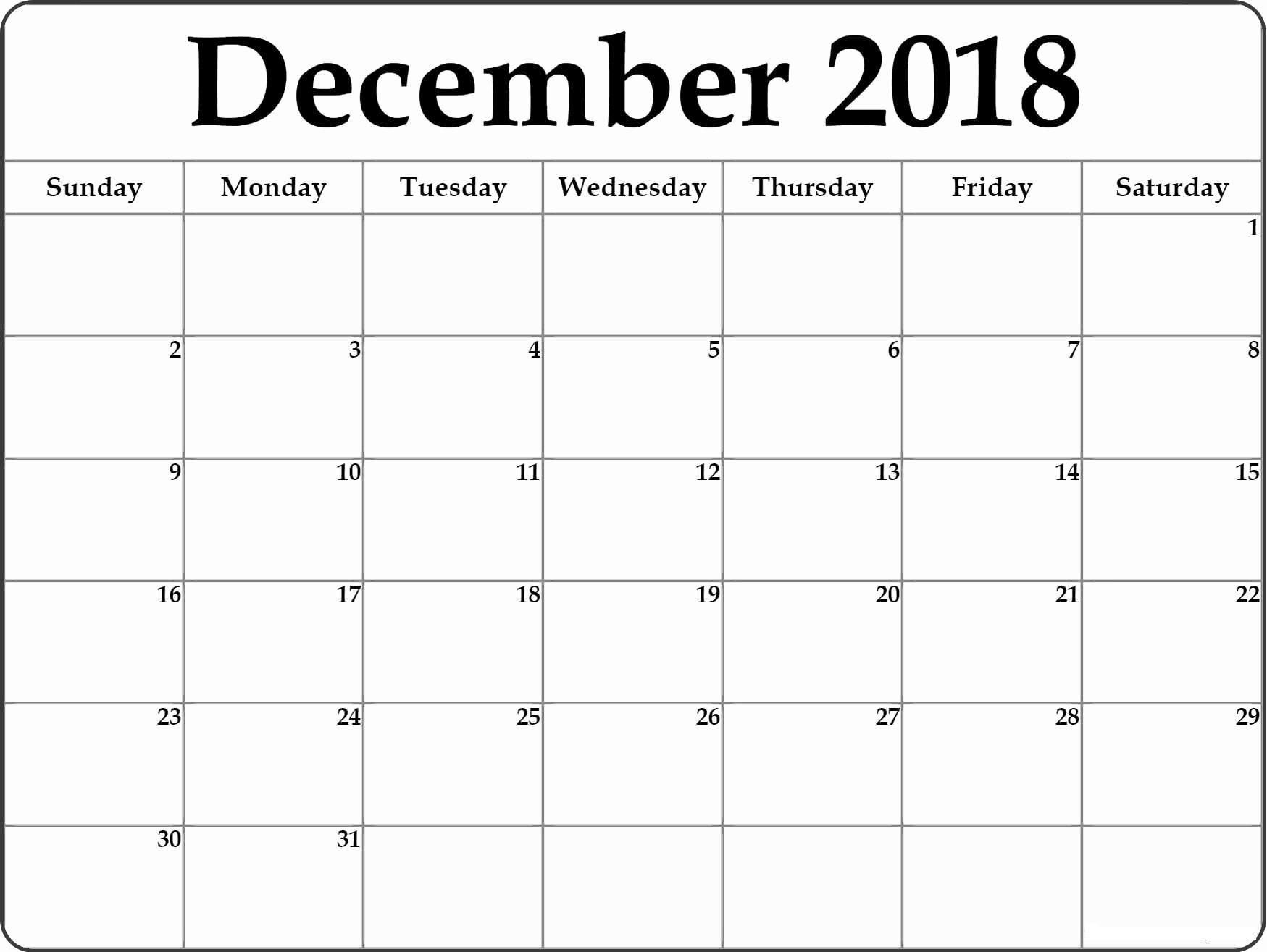 December 2018 Printable Calendar By Month | 2018 December