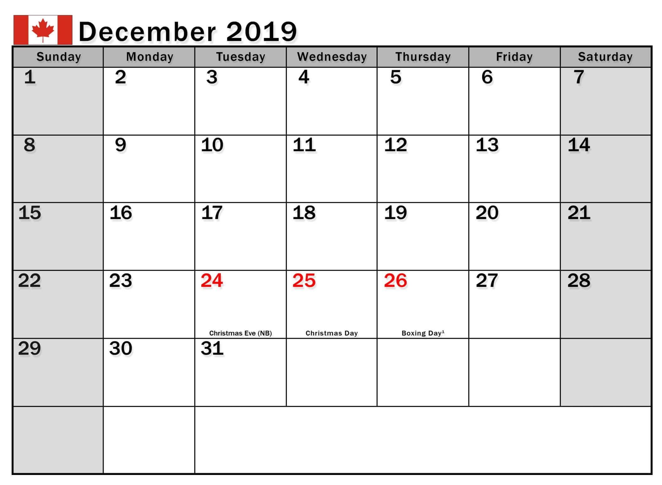 December 2019 Calendar Canada Public Holidays - 2019