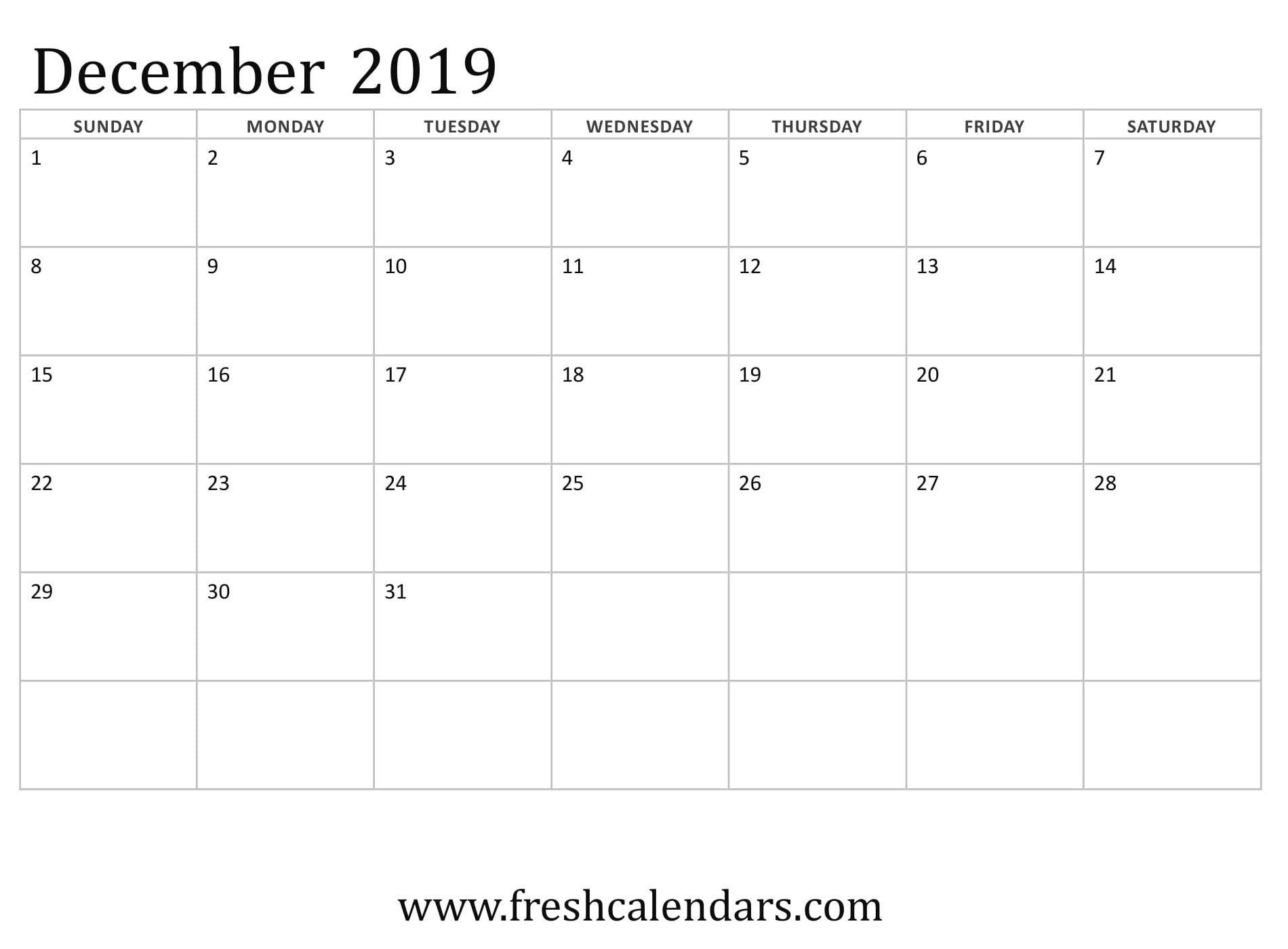 December 2019 Calendar Printable - Fresh Calendars Dowload